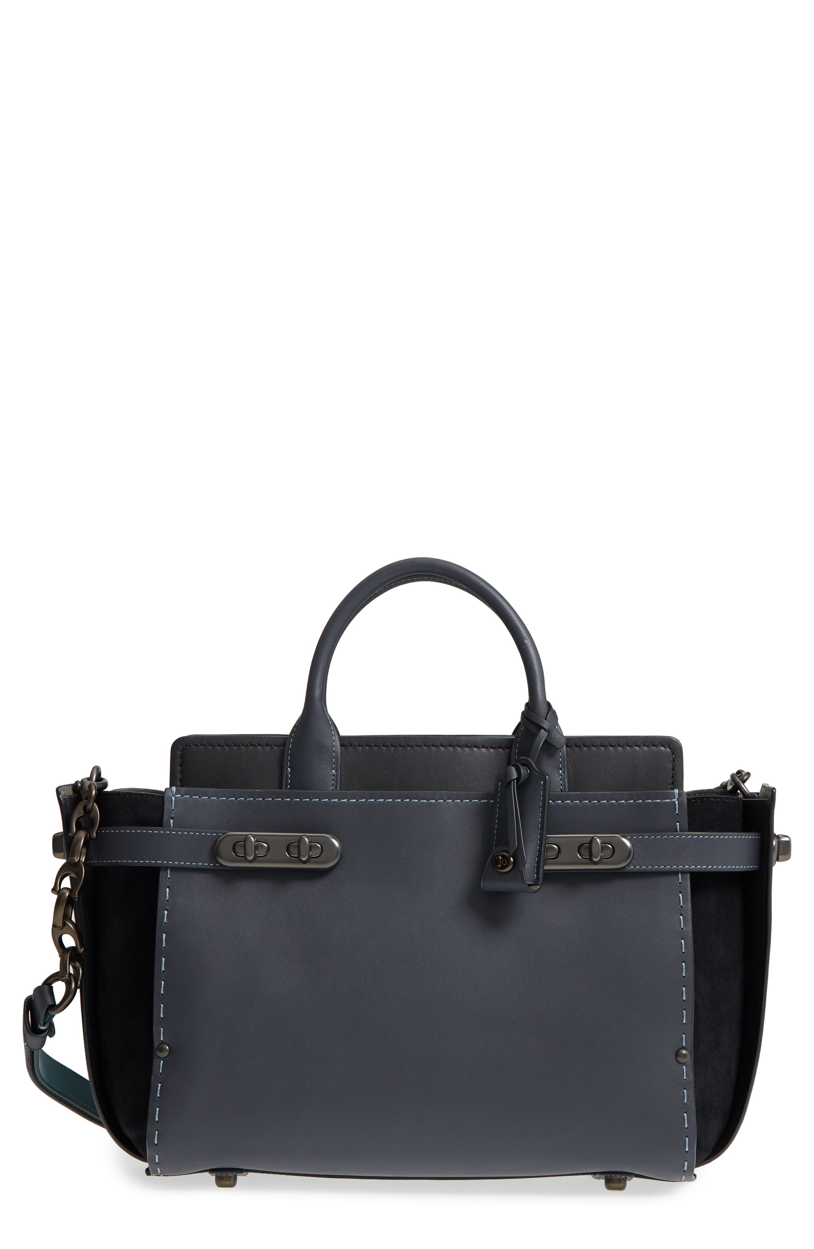 Double Swagger Leather Satchel,                             Main thumbnail 1, color,                             Navy