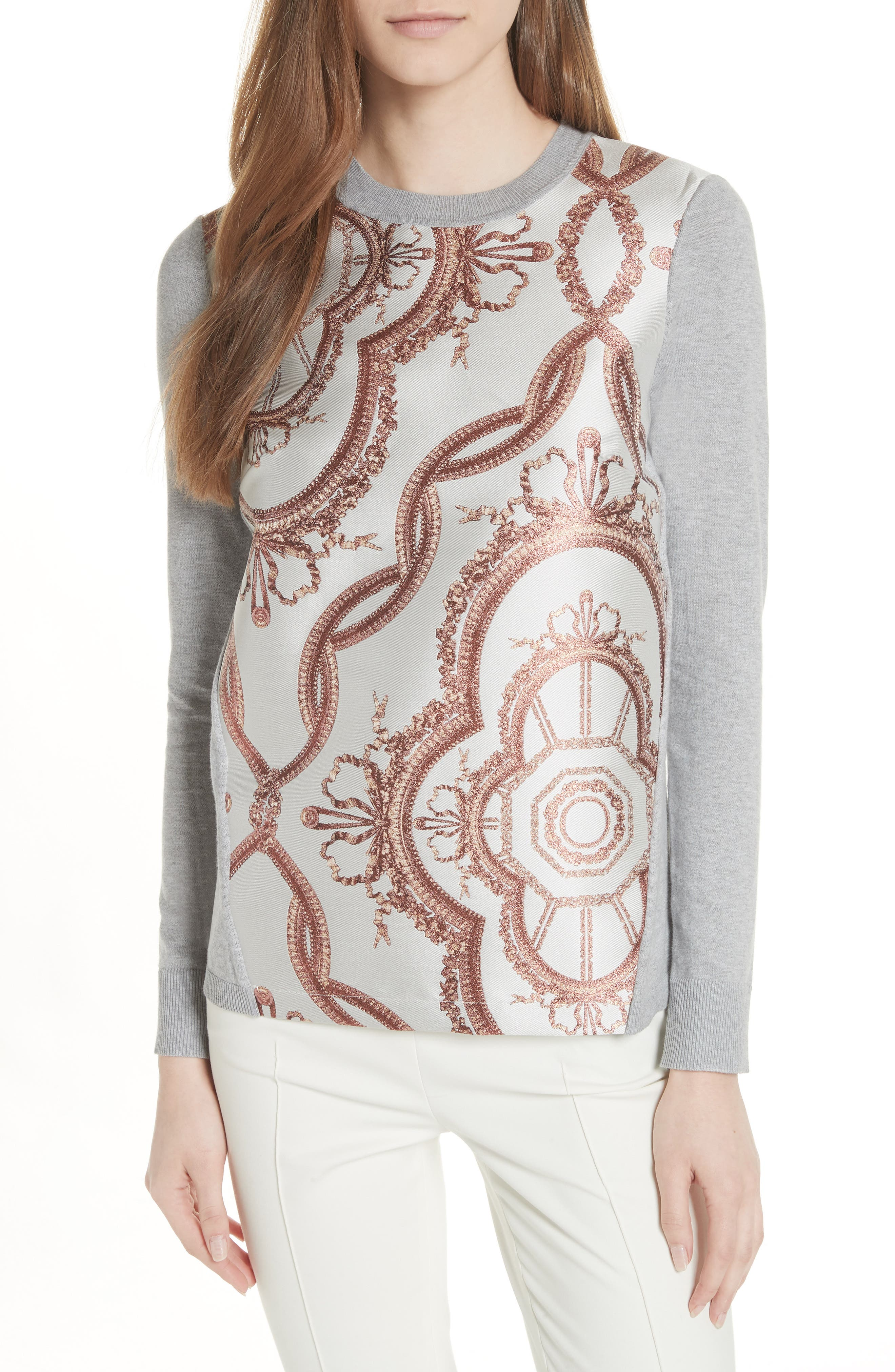 Versailles Jacquard Front Sweater,                         Main,                         color, Light Grey