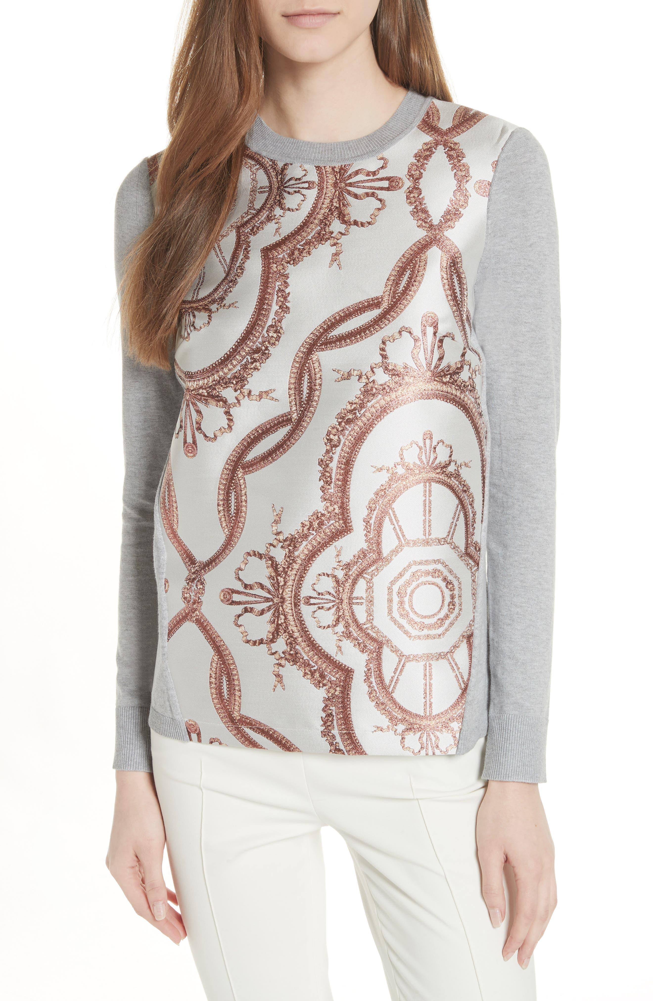 Versailles Jacquard Front Sweater,                         Main,                         color, Light Grey