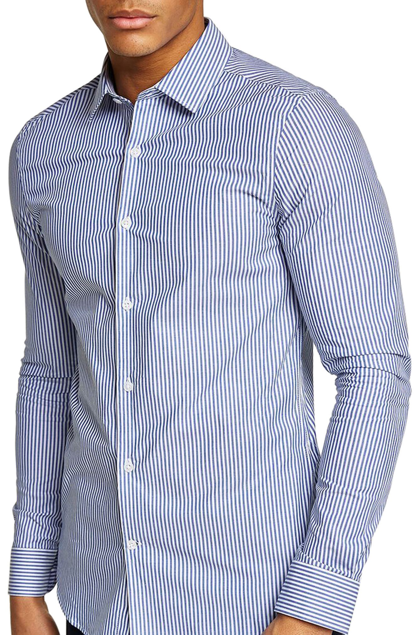 Muscle Fit Stripe Shirt,                             Main thumbnail 1, color,                             Blue Multi