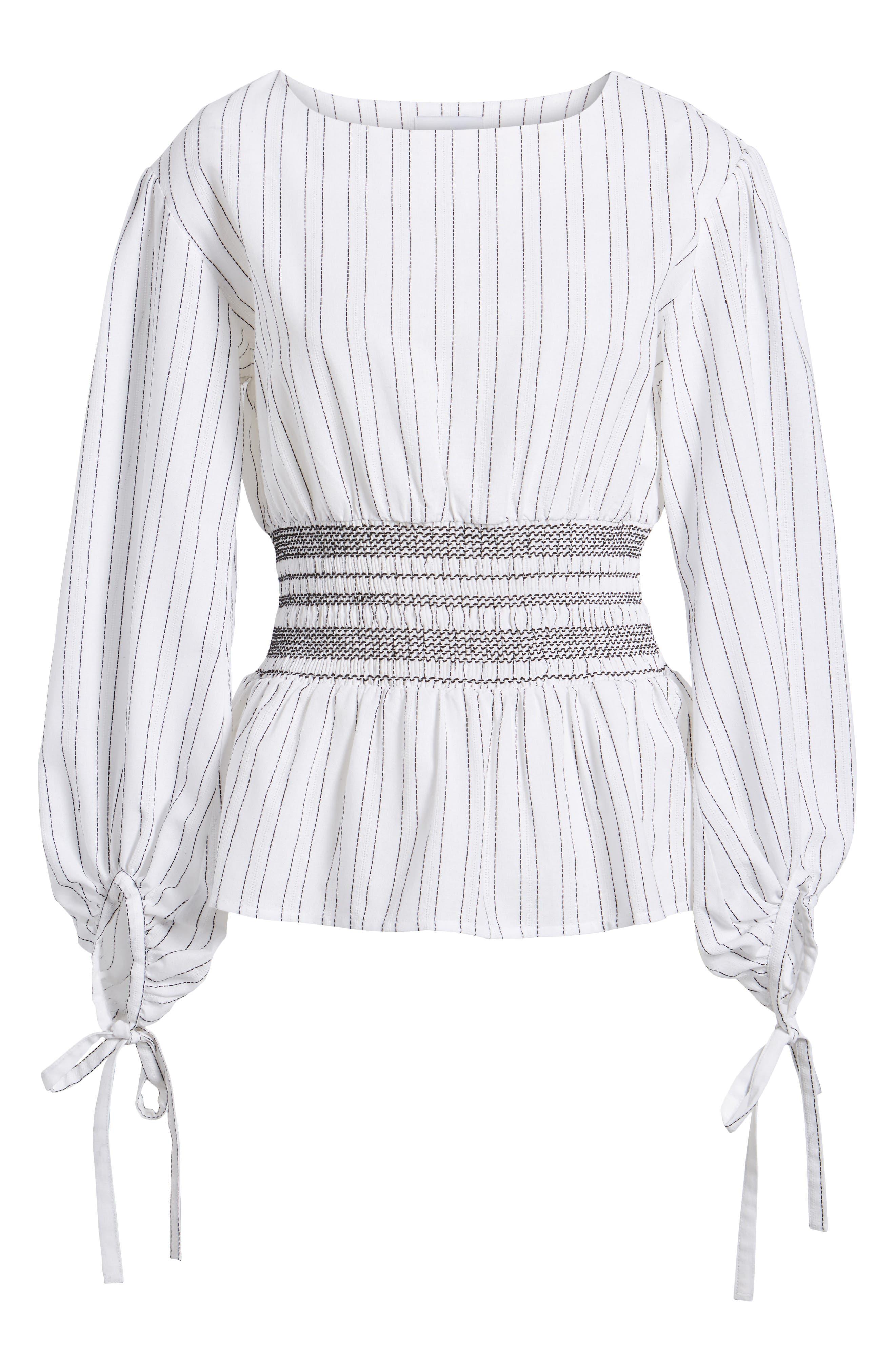 Stripe Peplum Top,                             Alternate thumbnail 7, color,                             Ivory/ Black