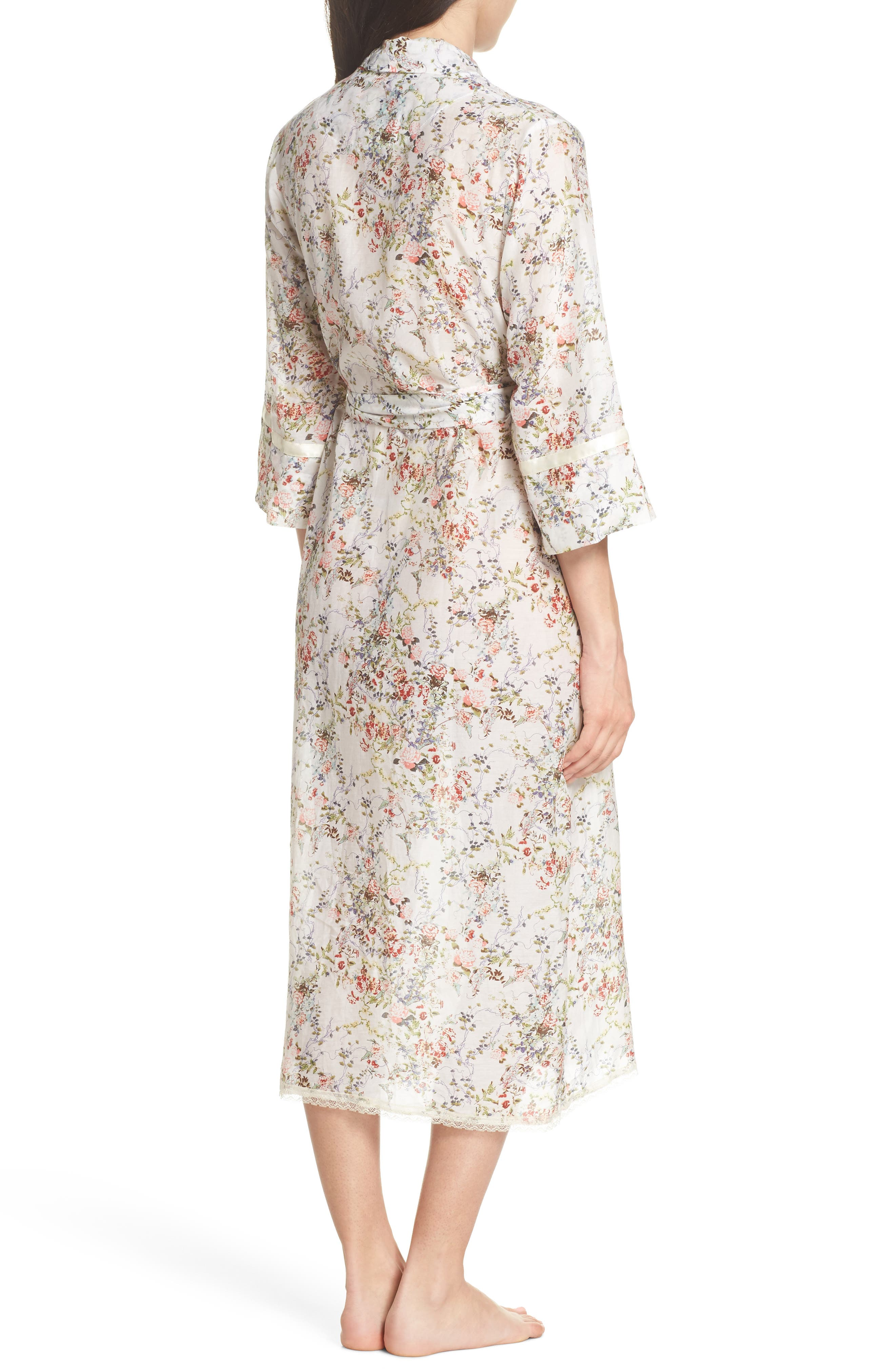 Yolly Floral Cotton & Silk Robe,                             Alternate thumbnail 2, color,                             Ivory Floral