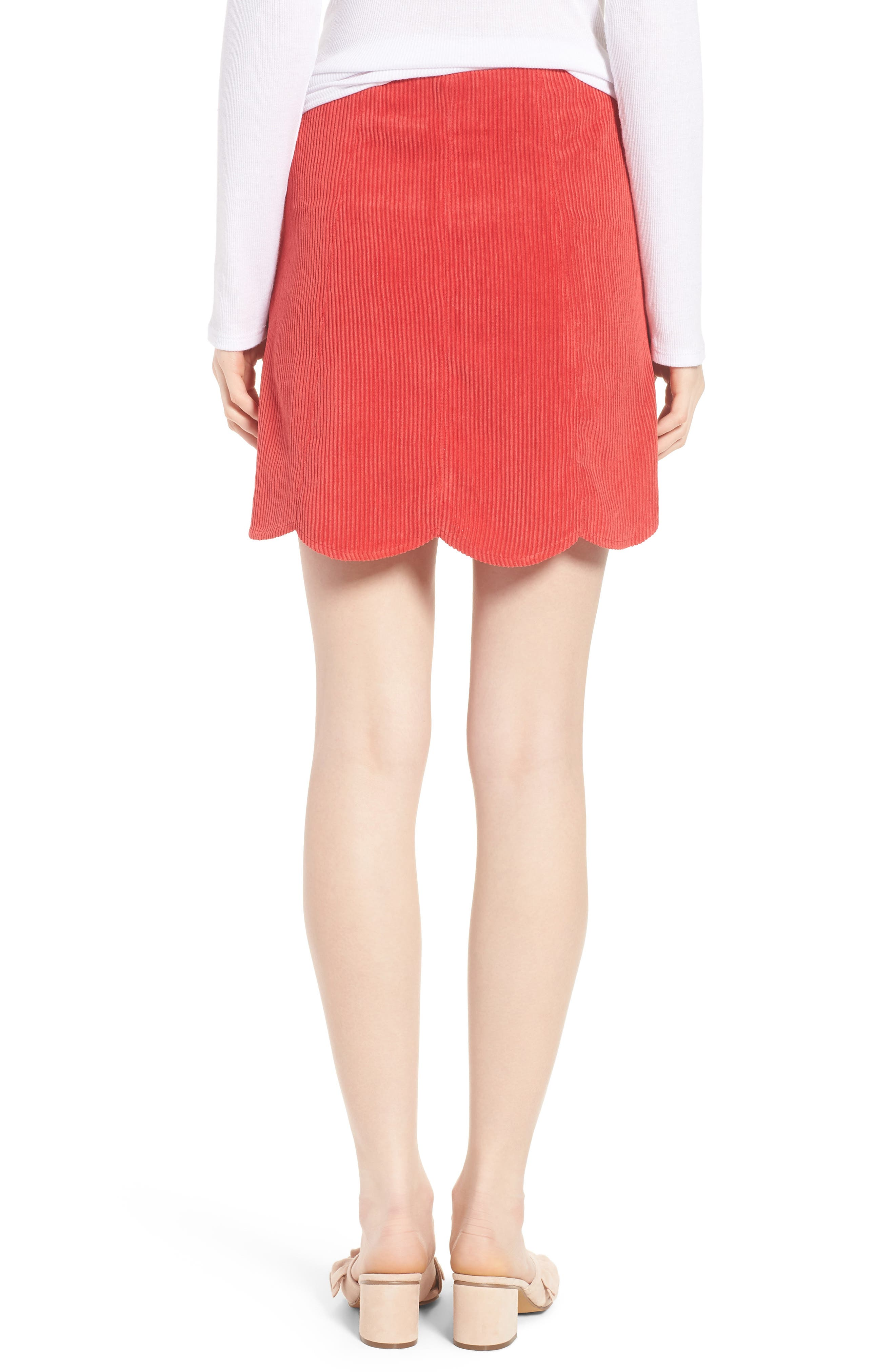 Central Corduroy Scallop Hem Skirt,                             Alternate thumbnail 2, color,                             Red