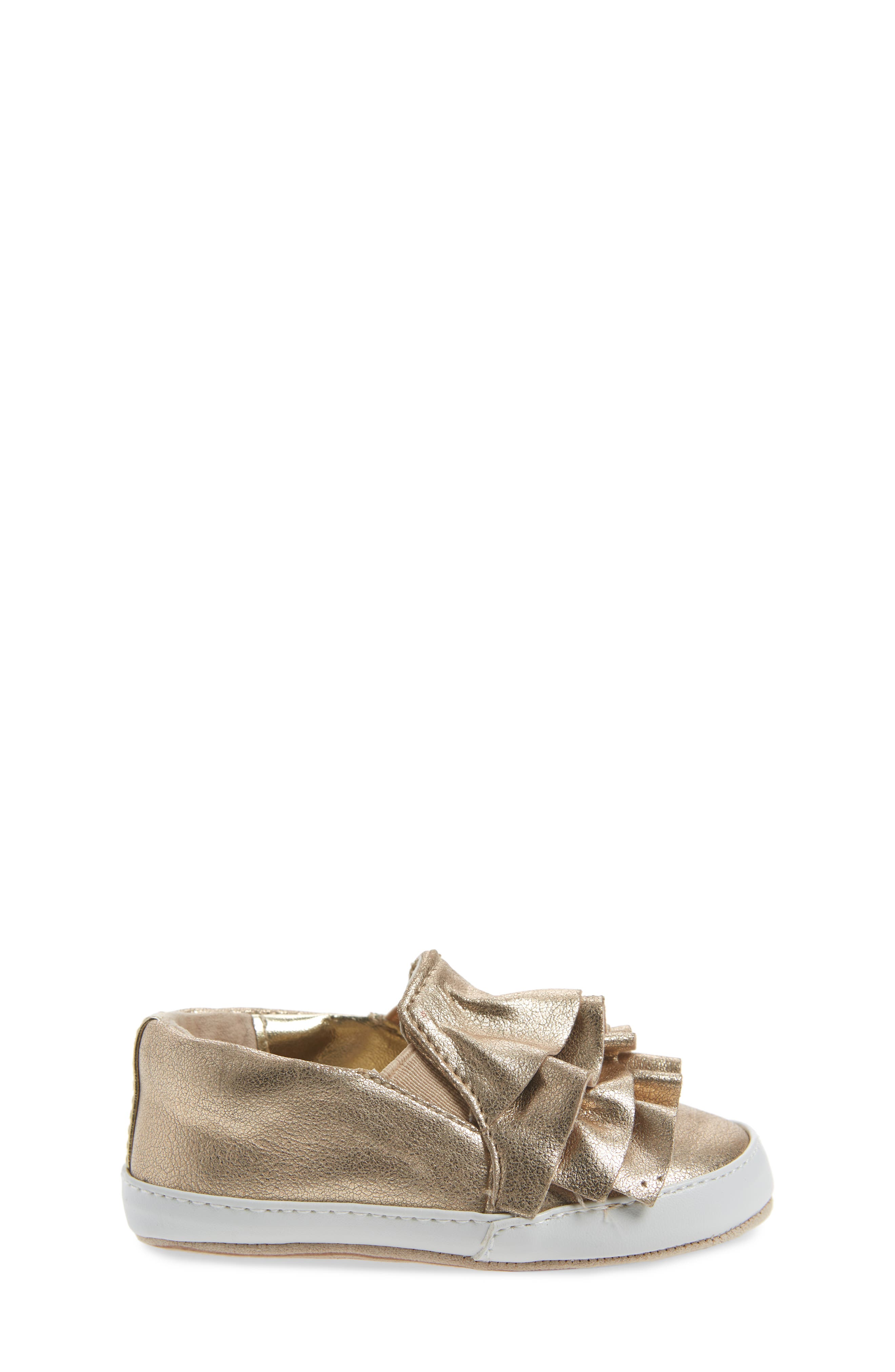 Ruffle Metallic Kam Slip-On Sneaker,                             Alternate thumbnail 3, color,                             Gold