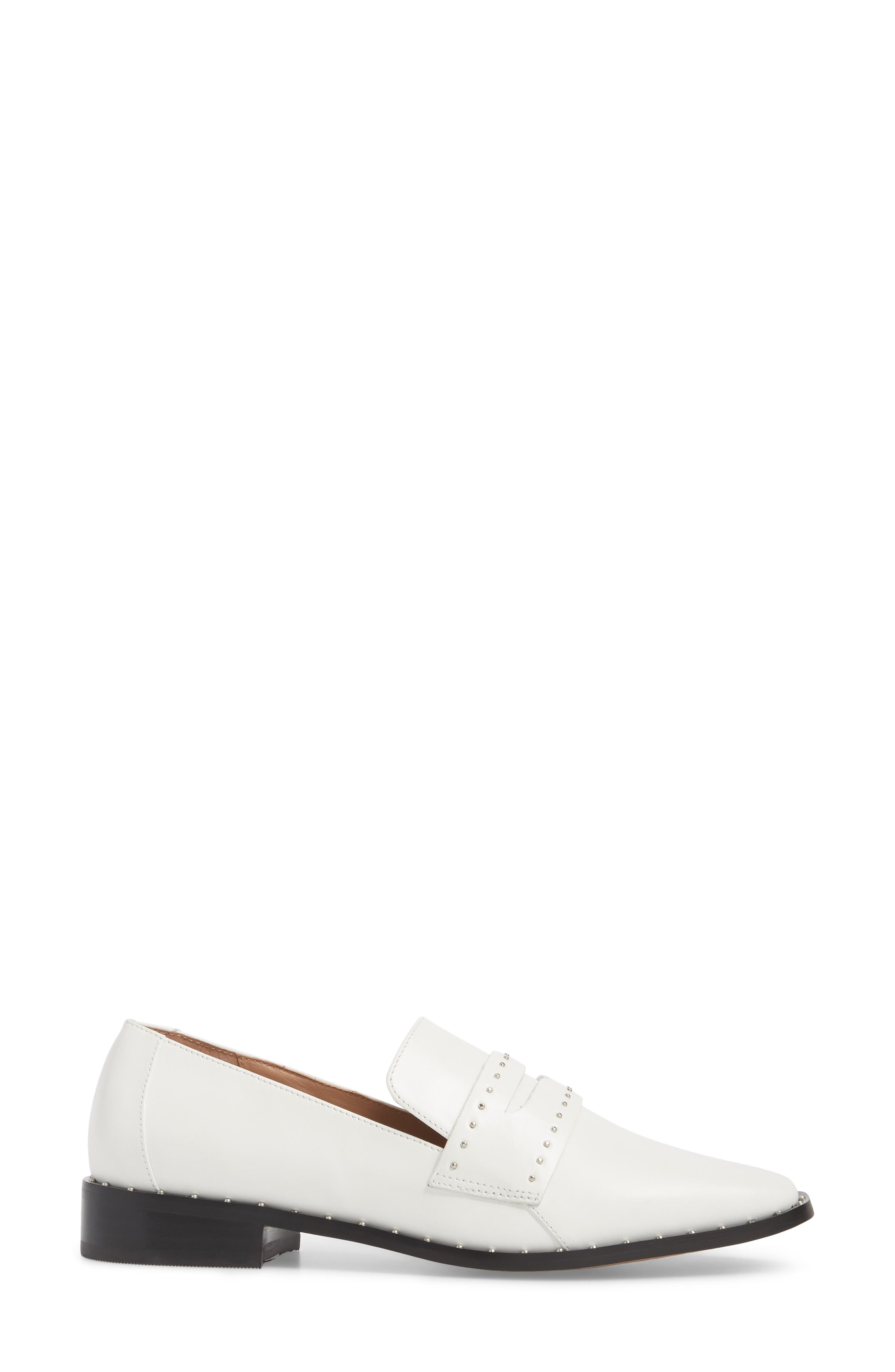Tara Penny Loafer,                             Alternate thumbnail 3, color,                             Off White Leather