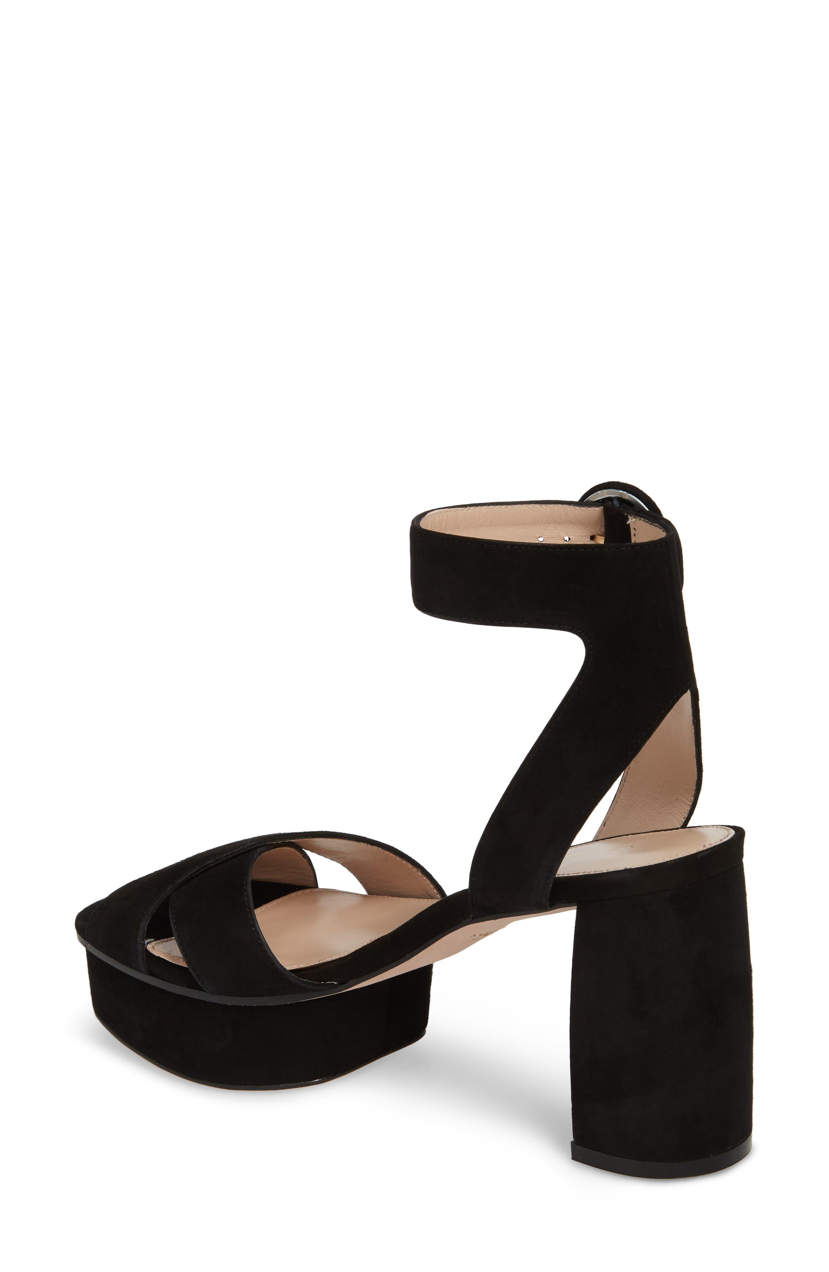 Carmina Ankle Strap Platform Sandal,                             Alternate thumbnail 2, color,                             Black Seda Suede