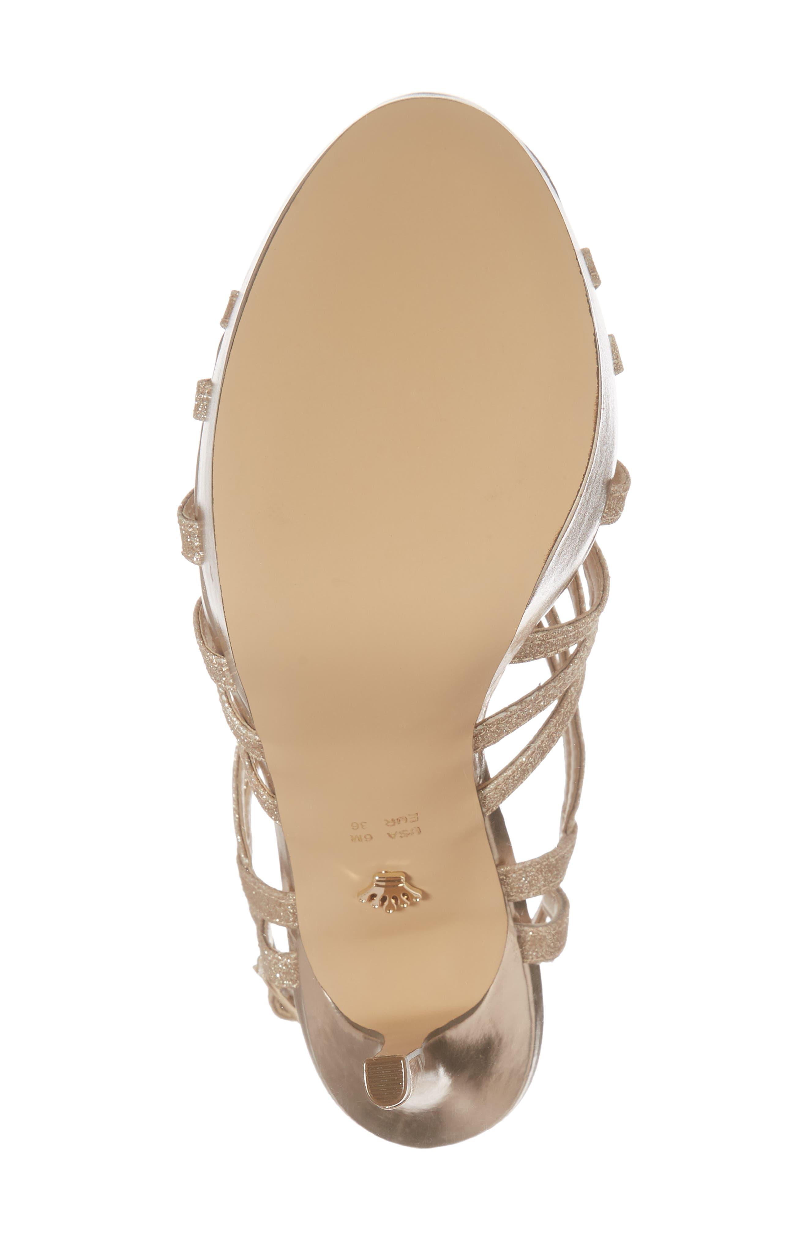 Solina Platform Sandal,                             Alternate thumbnail 6, color,                             Gold Glitter Fabric