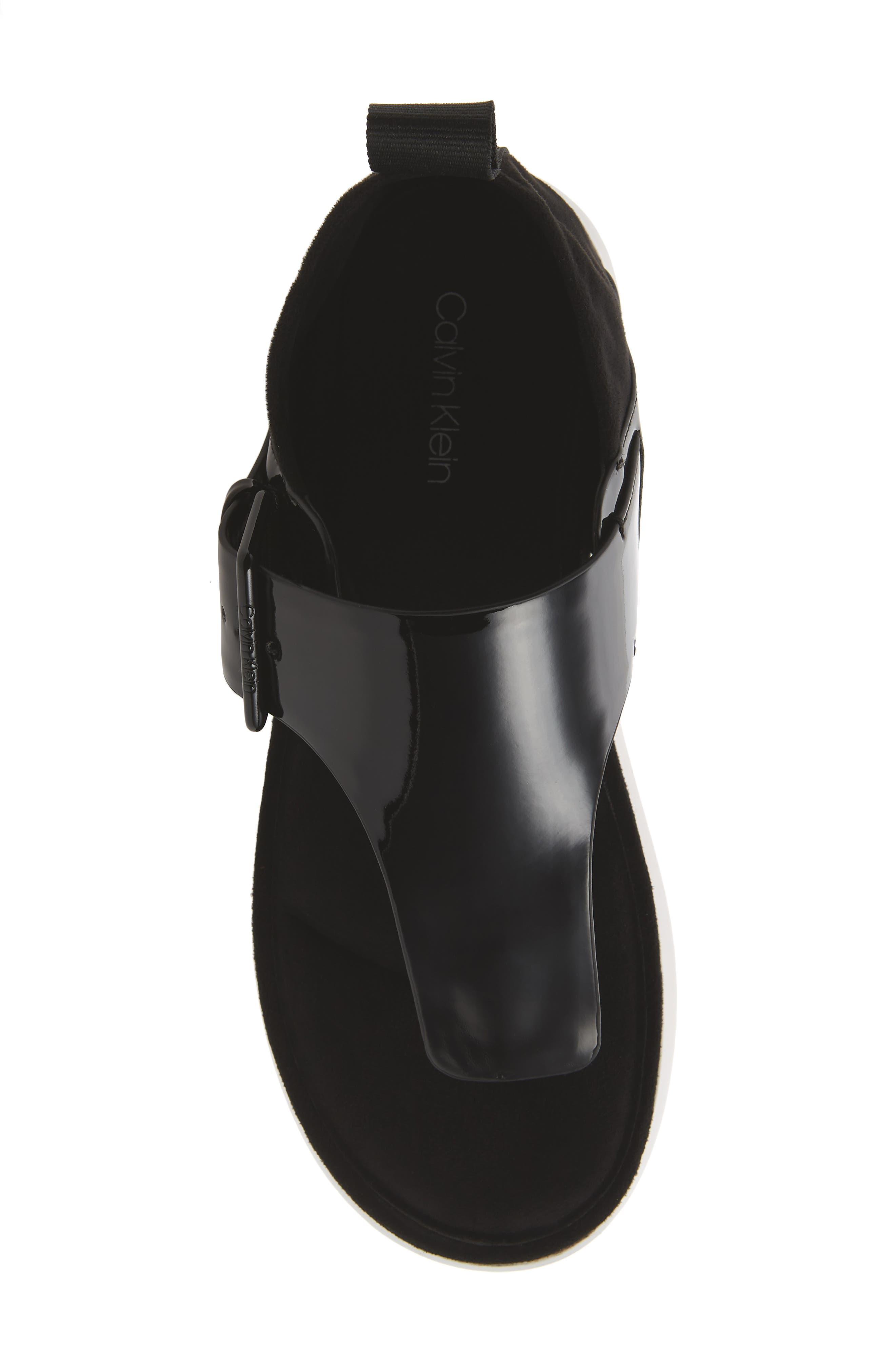 Dionay Wedge Sandal,                             Alternate thumbnail 5, color,                             Black Patent
