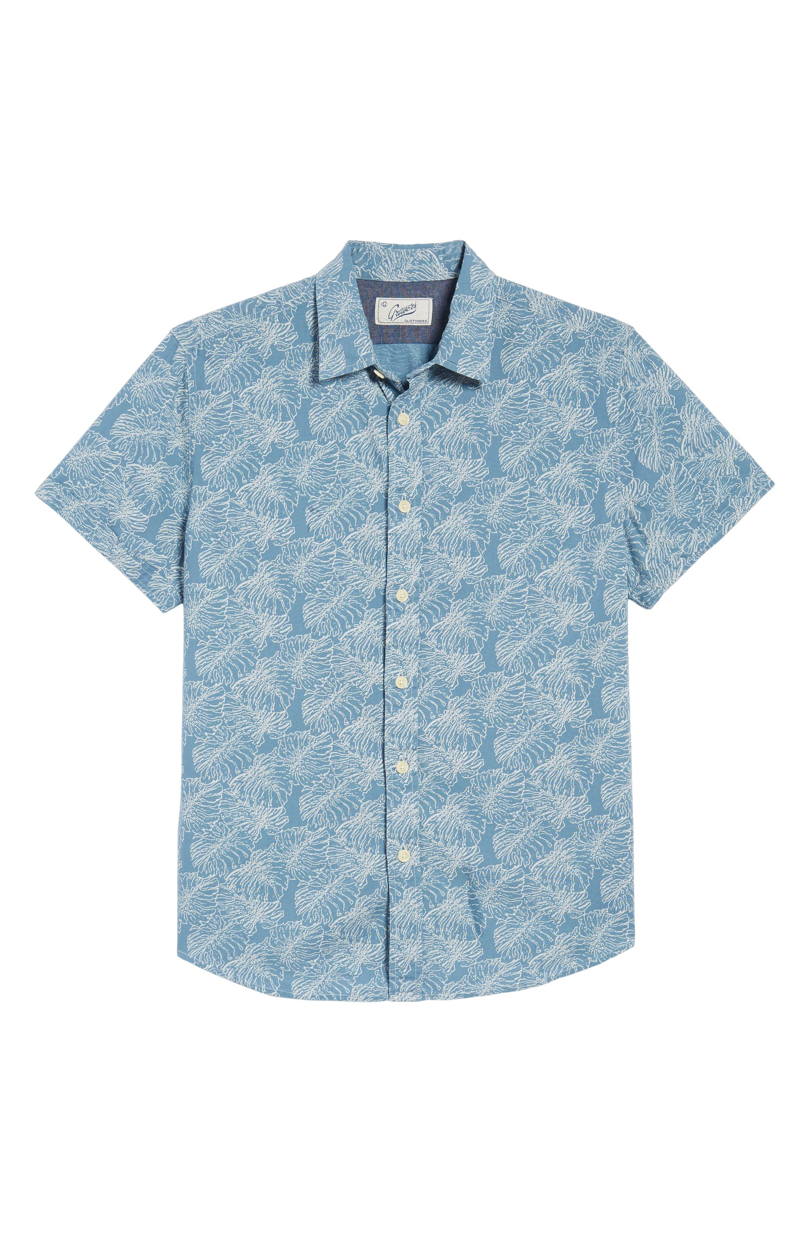 Leaf Print Short Sleeve Sport Shirt,                             Alternate thumbnail 6, color,                             Moonnight Blue
