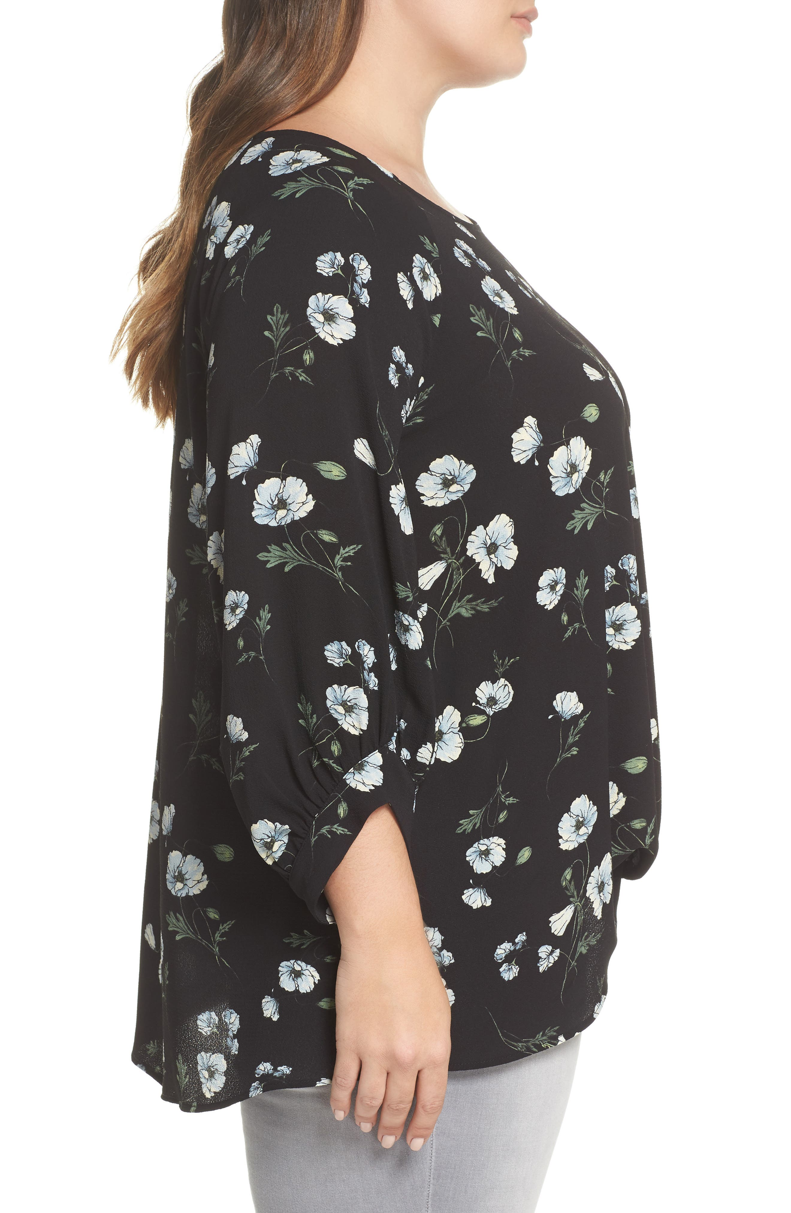 x Living in Yellow Maggie Twist Hem Top,                             Alternate thumbnail 3, color,                             Black Floral