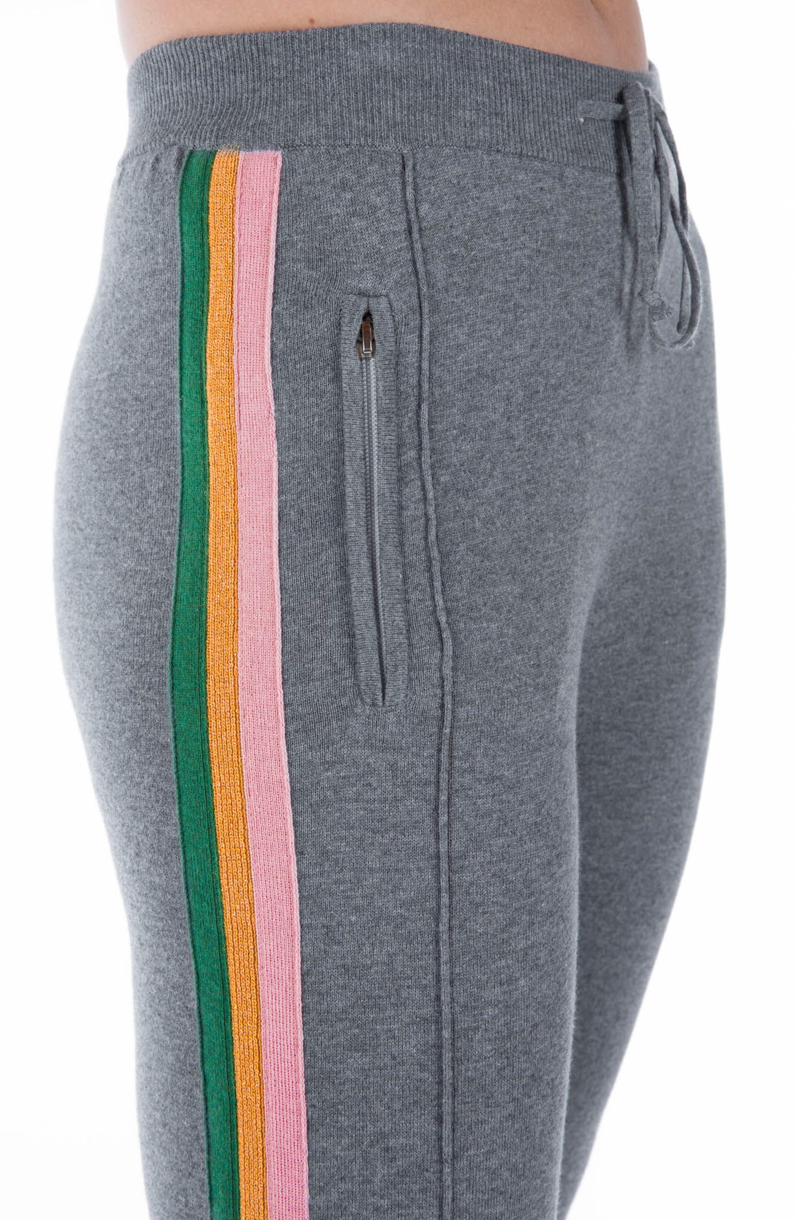 Rainbow Stripe Crop Sweatpants,                             Alternate thumbnail 3, color,                             Grey Multi