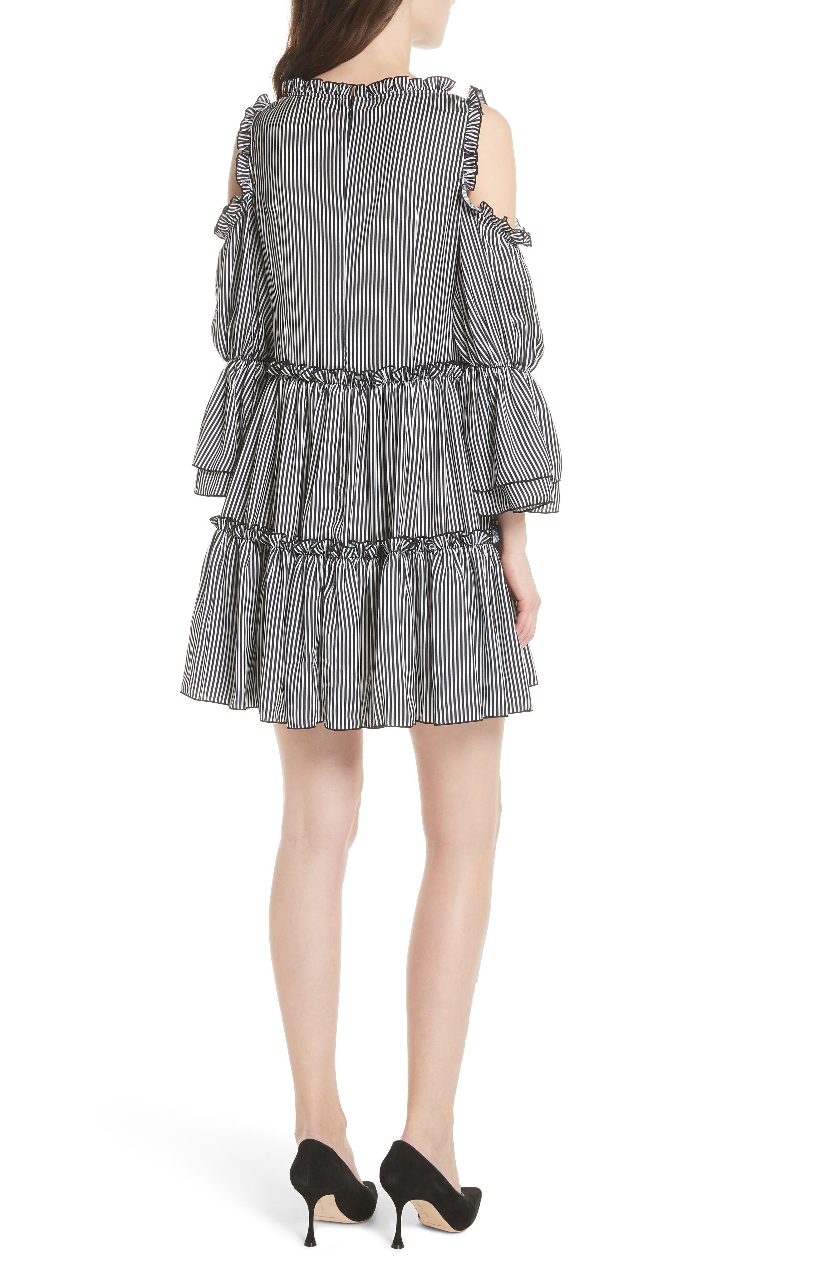 Radise Cold Shoulder Ruffled Minidress,                             Alternate thumbnail 2, color,                             Stripe