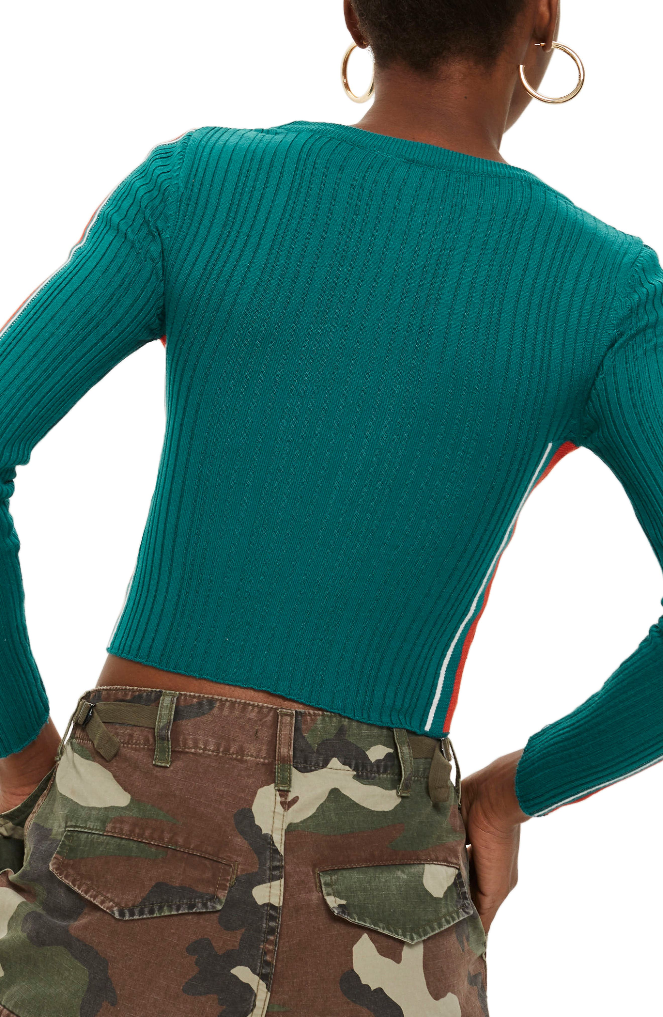 Sporty Side Stripe Top,                             Alternate thumbnail 2, color,                             Teal