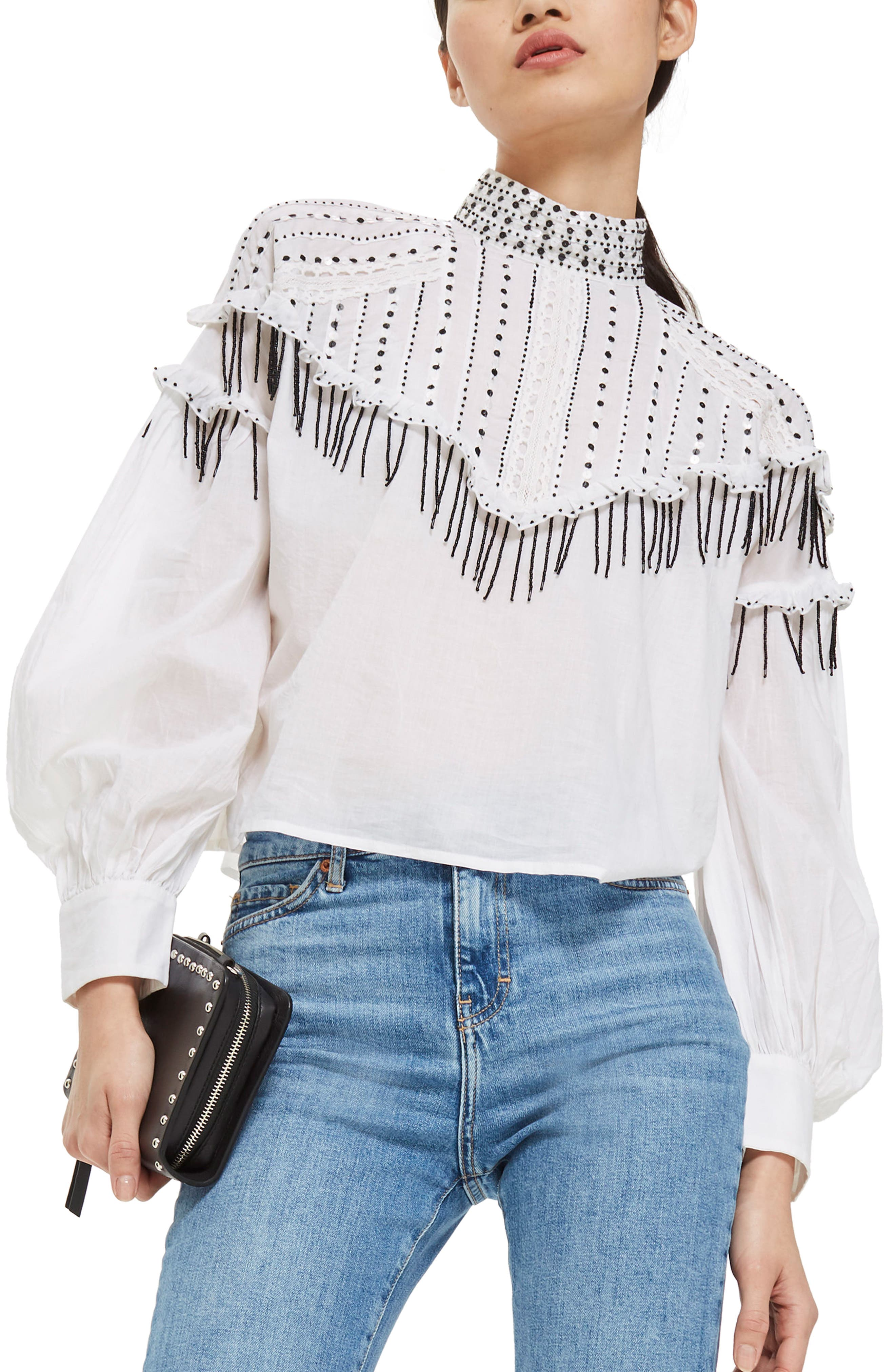 Sequin Ruffle Top,                         Main,                         color, White