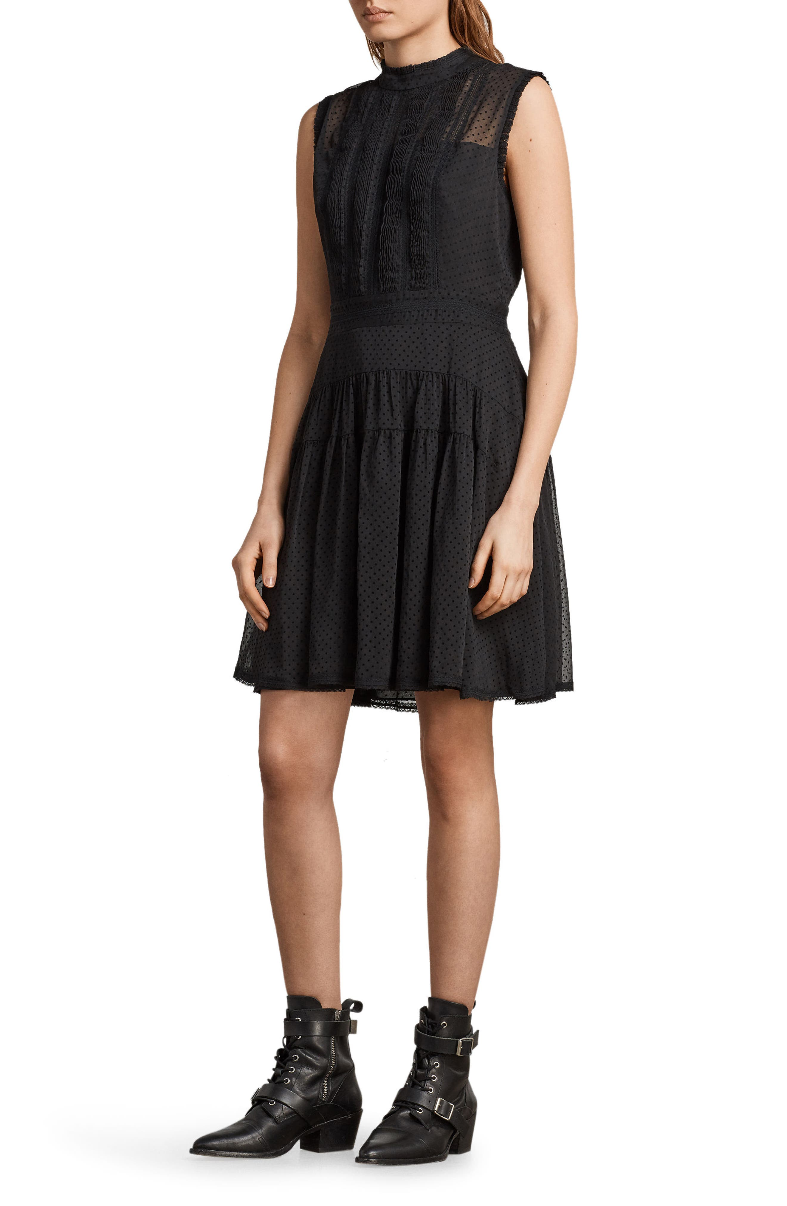 Myra Dot Pintuck Dress,                             Alternate thumbnail 5, color,                             Black