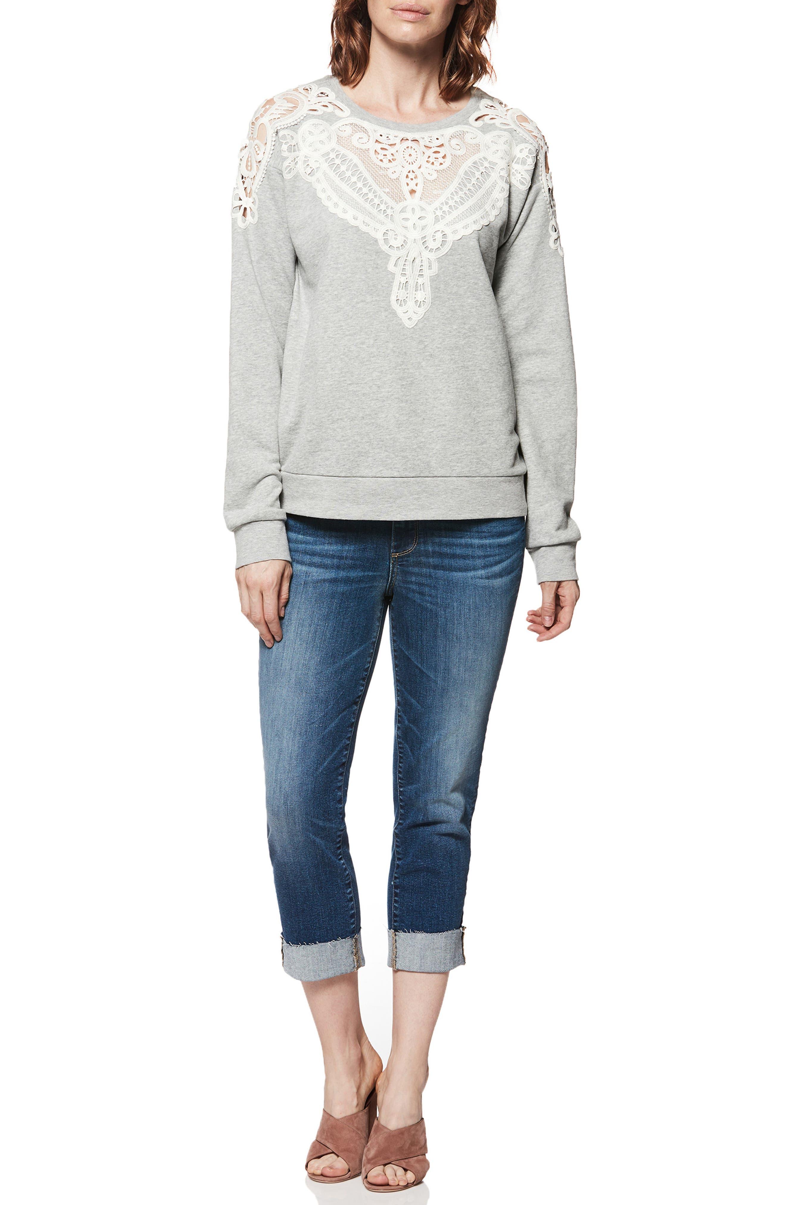 Eilise Crochet Detail Sweatshirt,                             Alternate thumbnail 2, color,                             Heather Grey