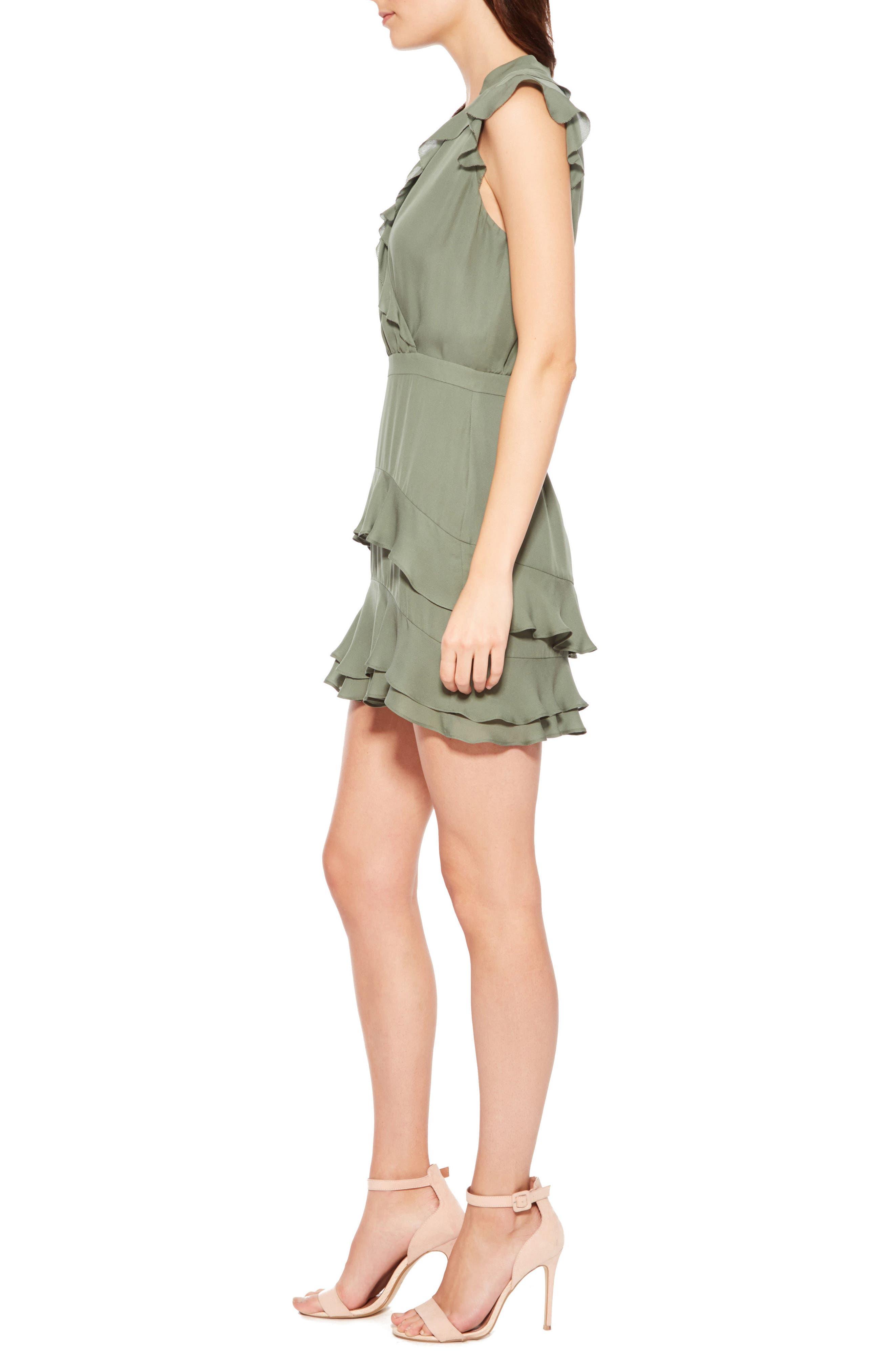 Tangia Silk Dress,                             Alternate thumbnail 3, color,                             Greenbriar