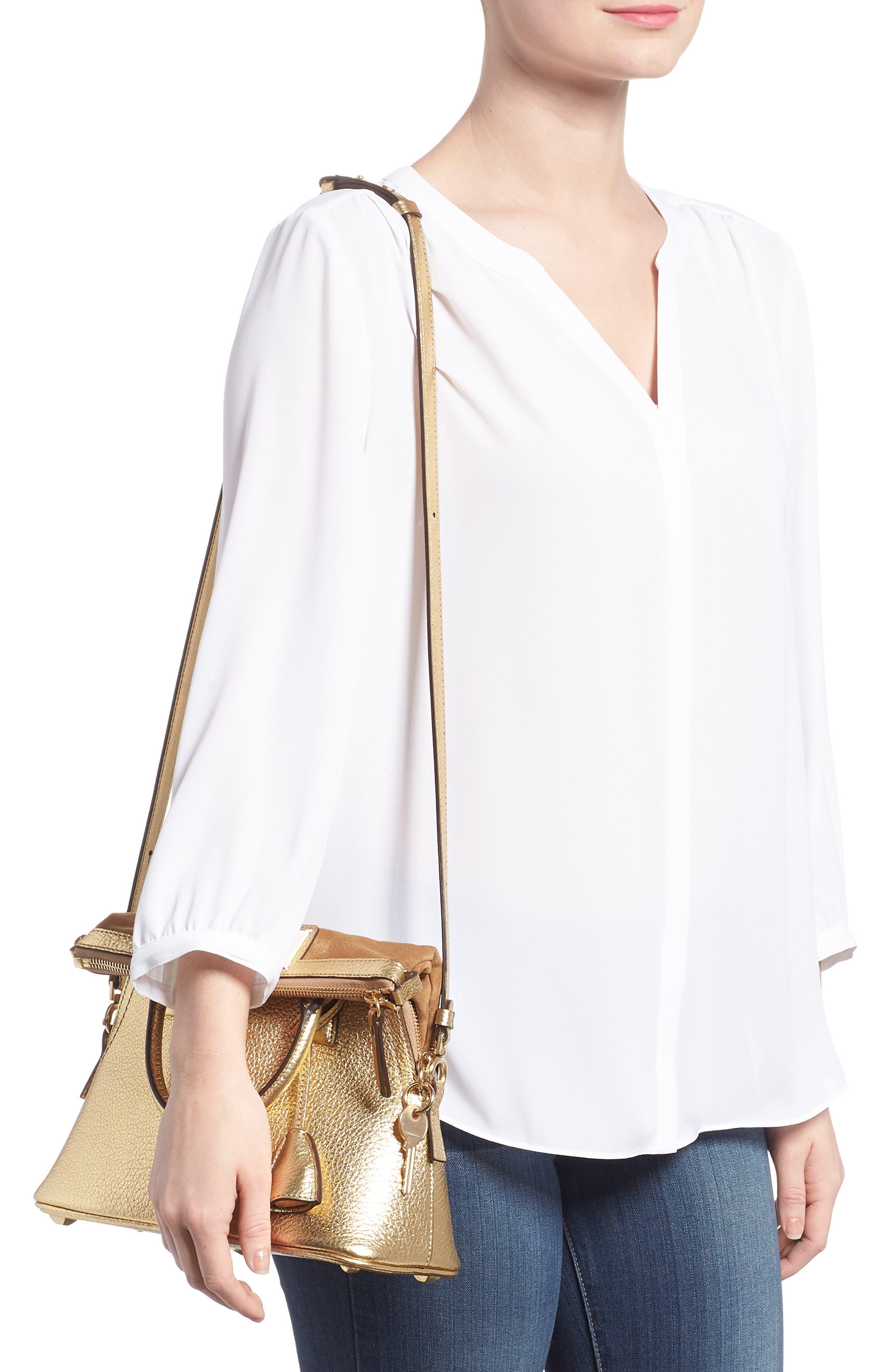 Small 5AC Calfskin Leather Handbag,                             Alternate thumbnail 2, color,                             Gold