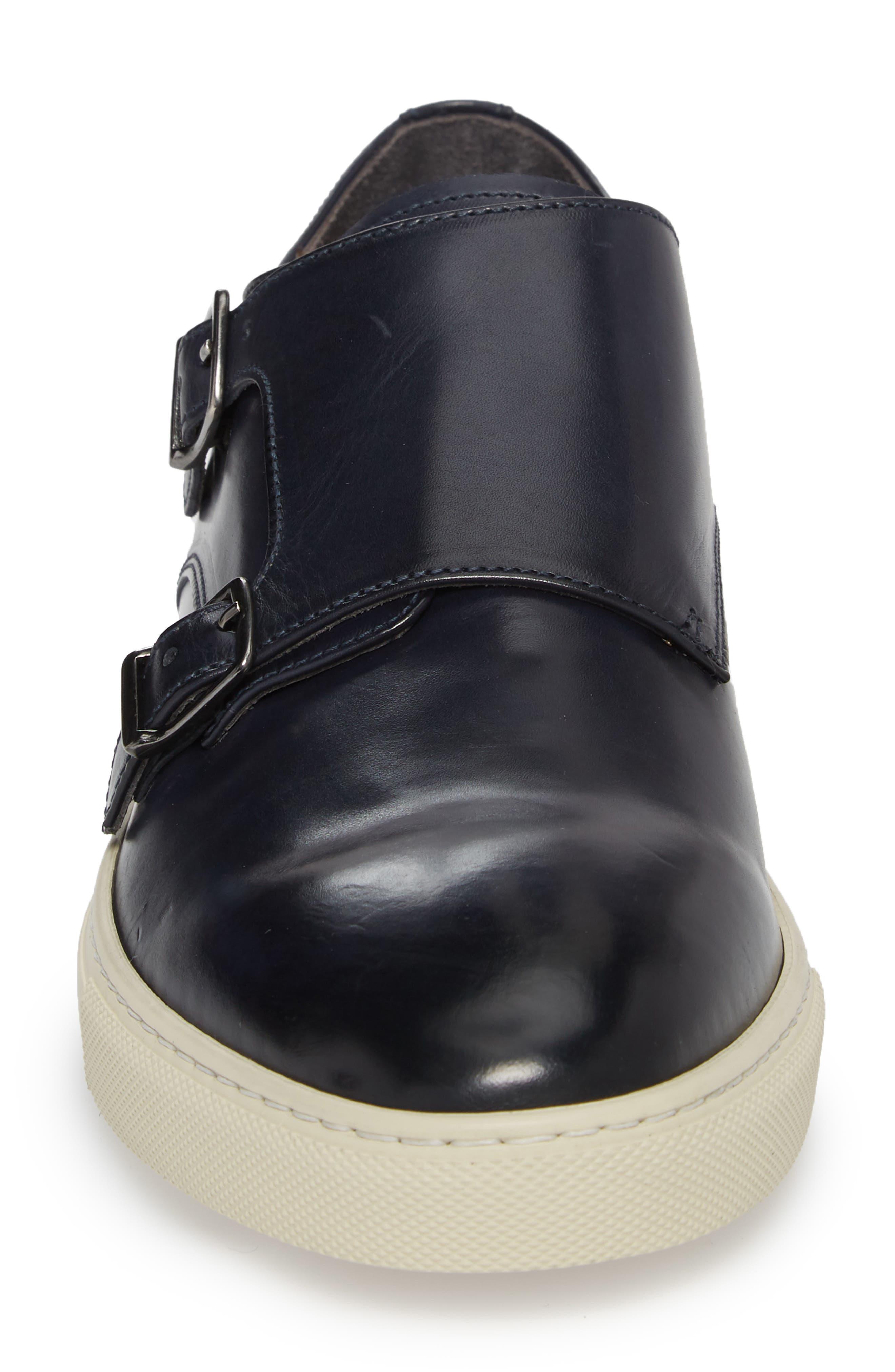 Gildden Double Monk Strap Sneaker,                             Alternate thumbnail 4, color,                             Diver Blue Marine Leather