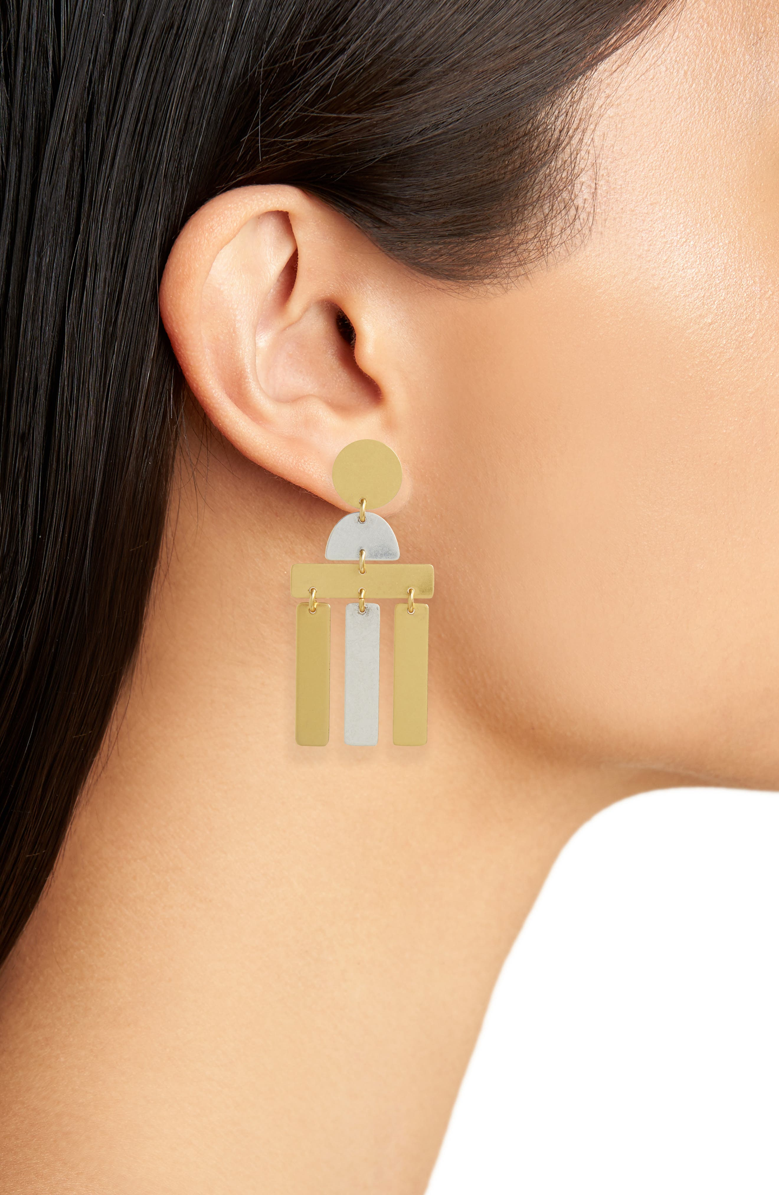 Flatform Statement Earrings,                             Alternate thumbnail 2, color,                             Mixed Metal
