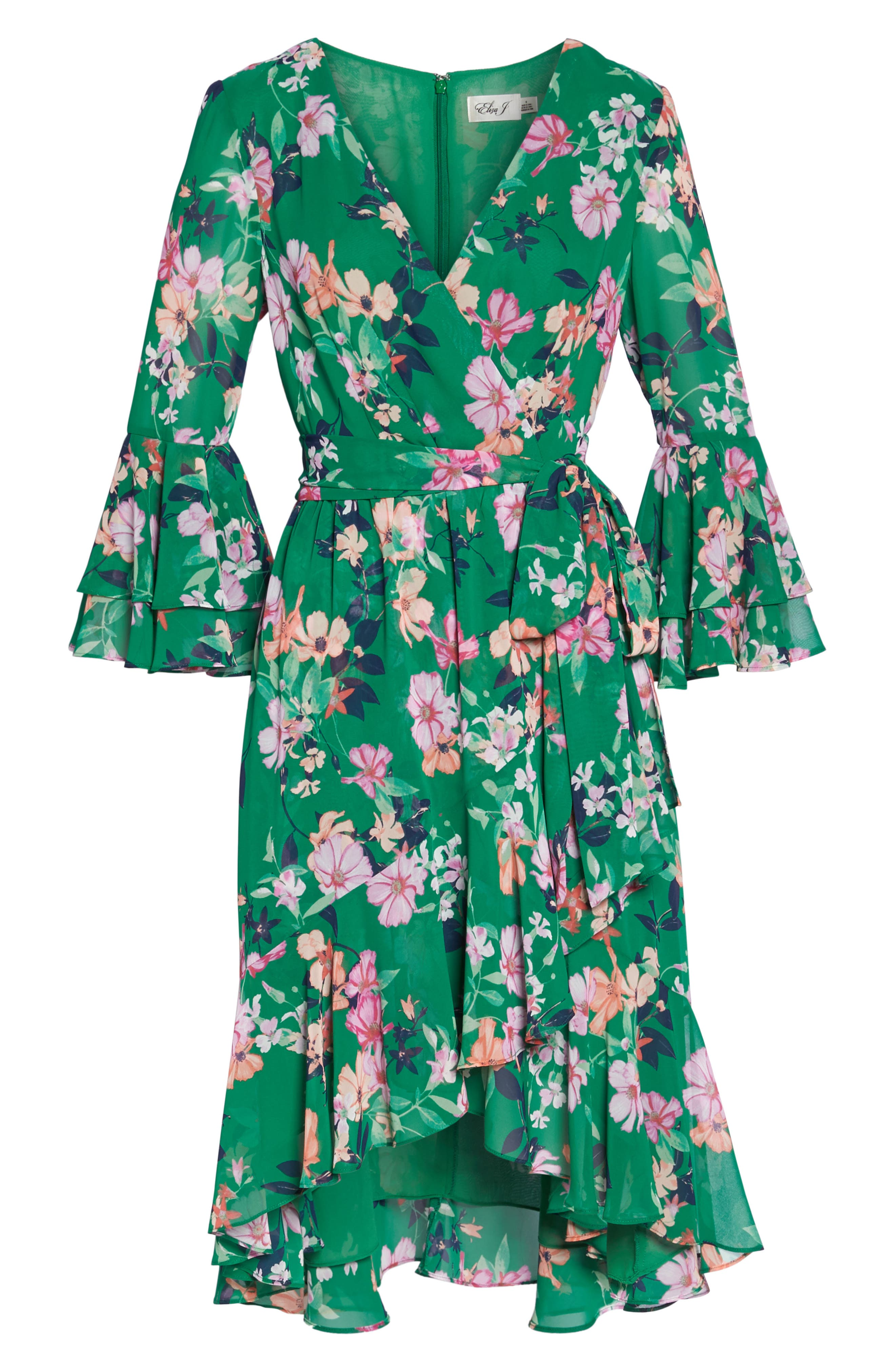 Double Bell Sleeve Faux Wrap Dress,                             Alternate thumbnail 9, color,                             Green