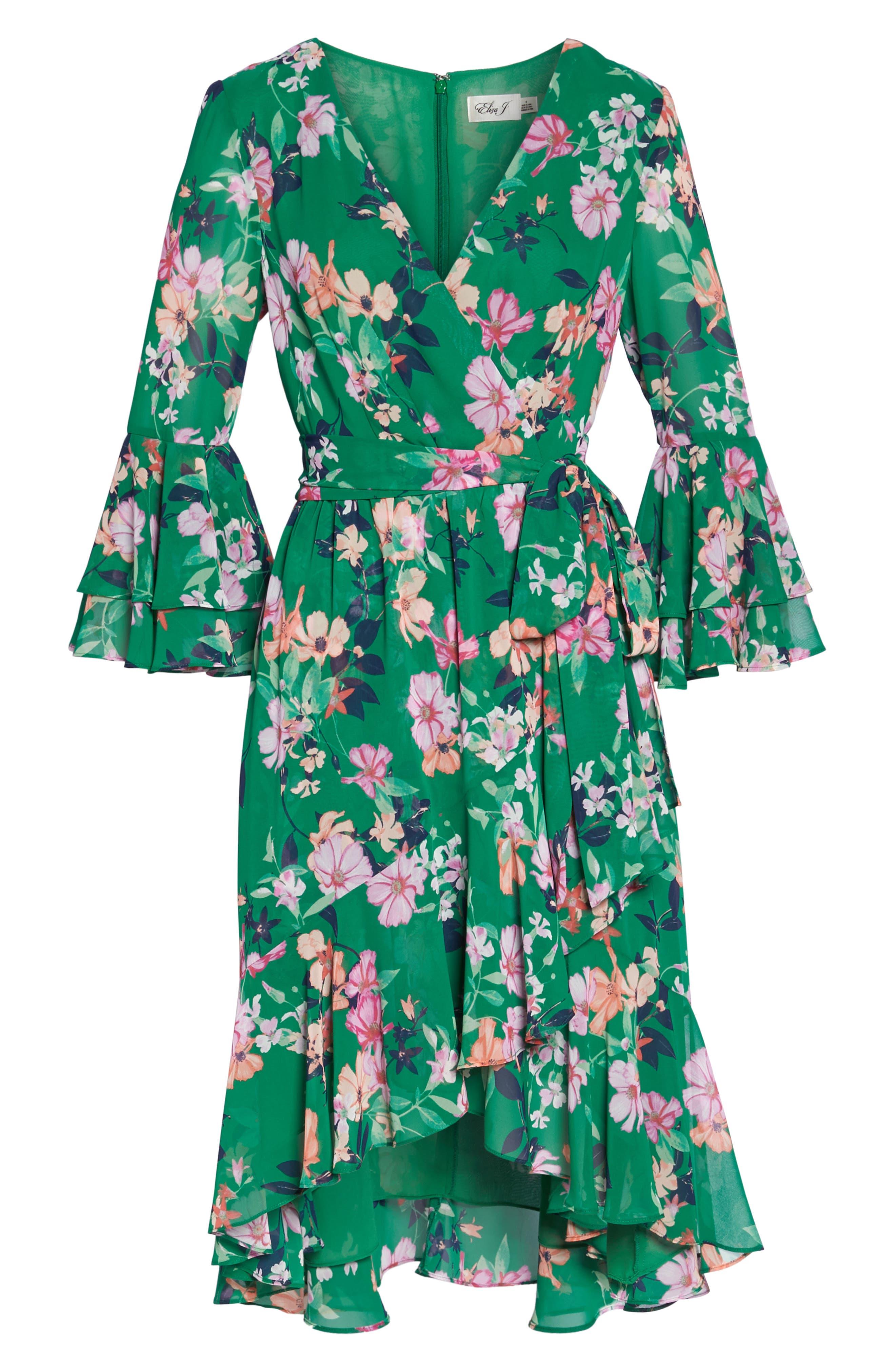 Alternate Image 8  - Eliza J Double Bell Sleeve Faux Wrap Dress (Regular & Petite)