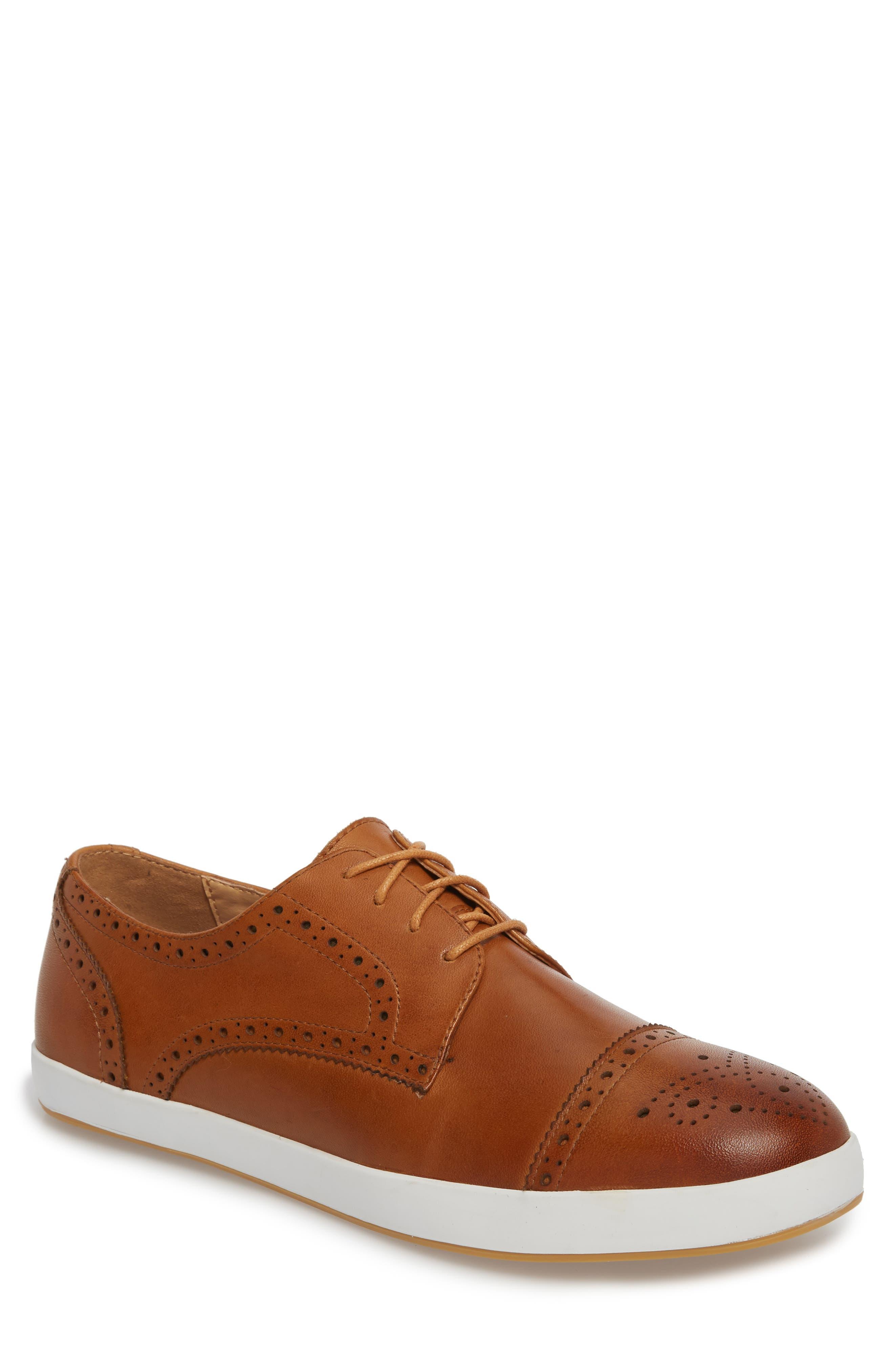 Dunnet Cap Toe Sneaker,                         Main,                         color, Cognac Leather