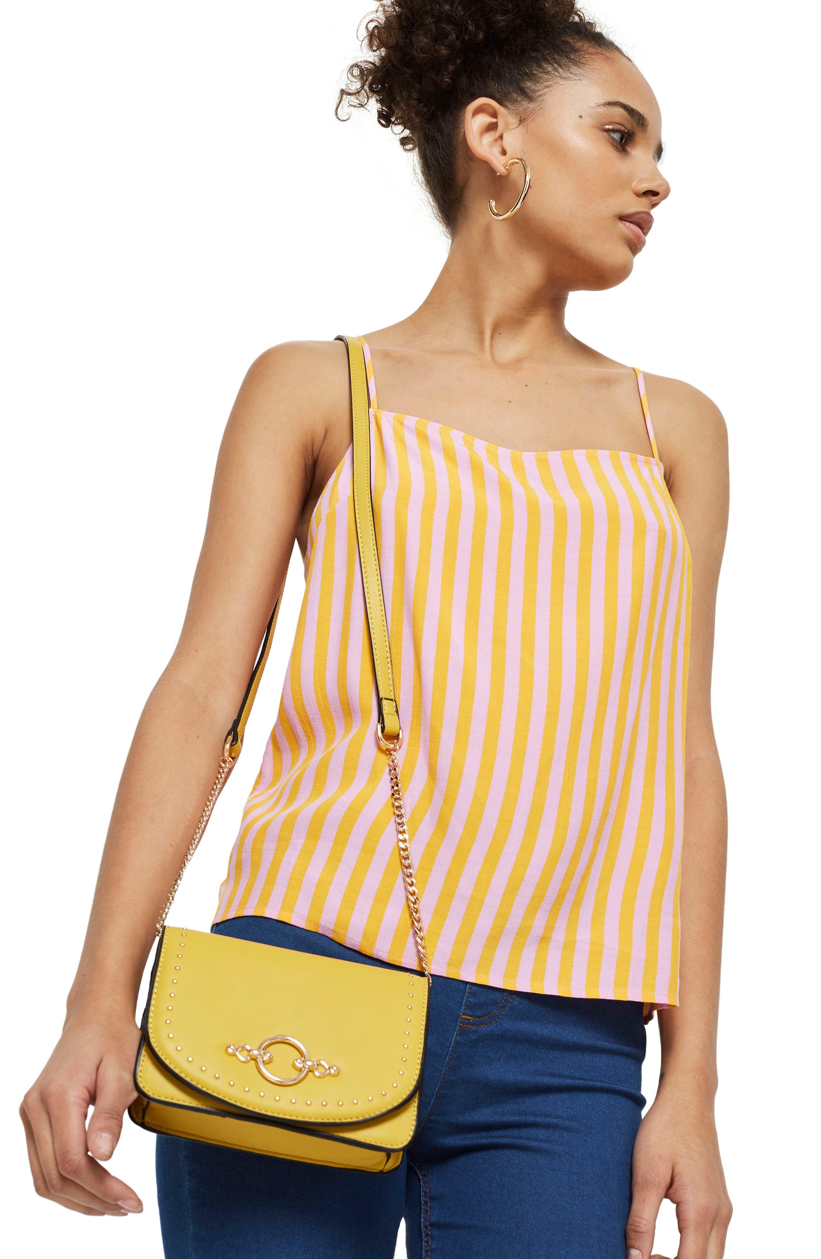 Osen Stud Circle Crossbody Bag,                             Alternate thumbnail 2, color,                             Yellow