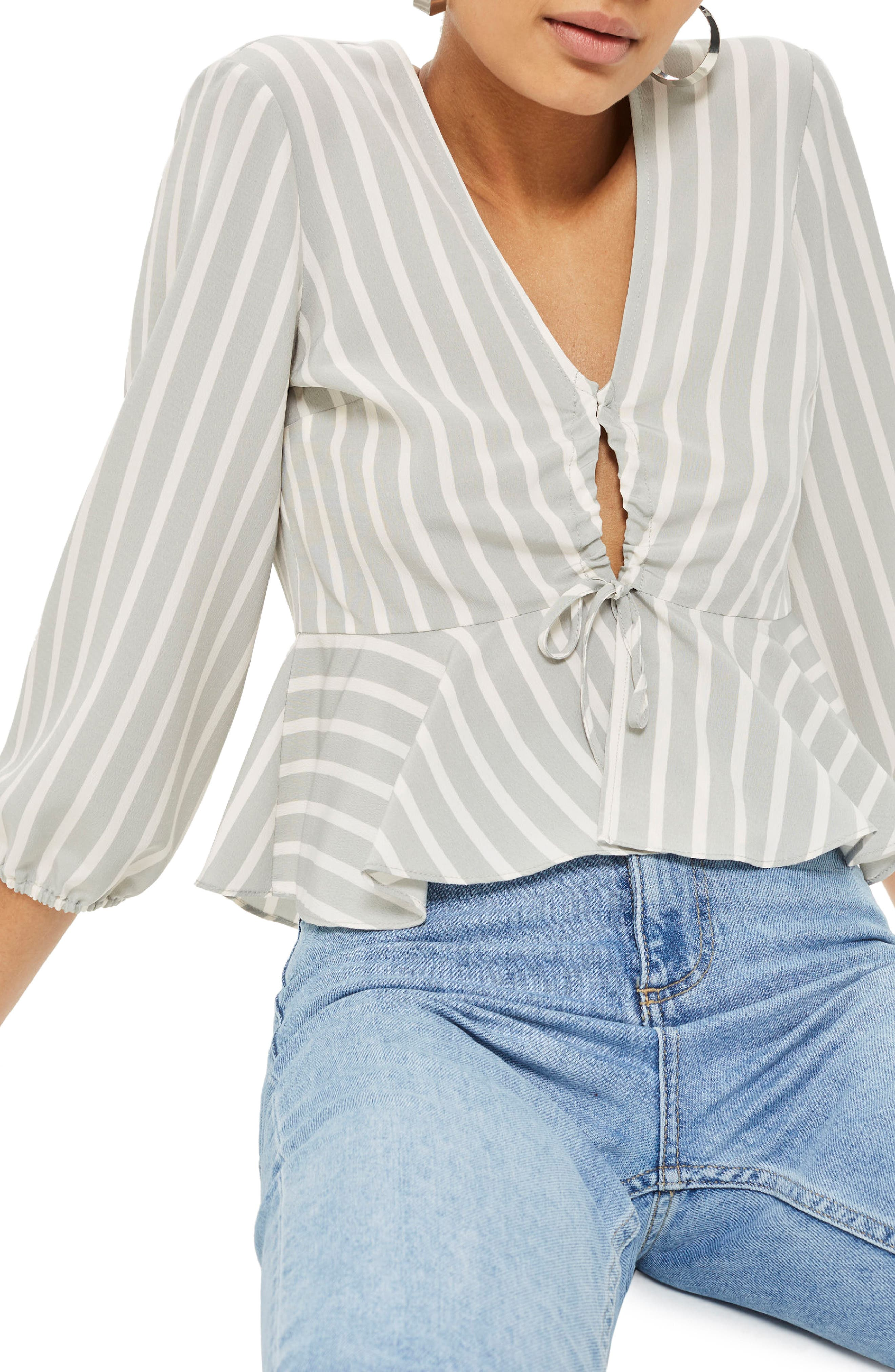 Betty Stripe Ruched Keyhole Blouse,                             Main thumbnail 1, color,                             Grey
