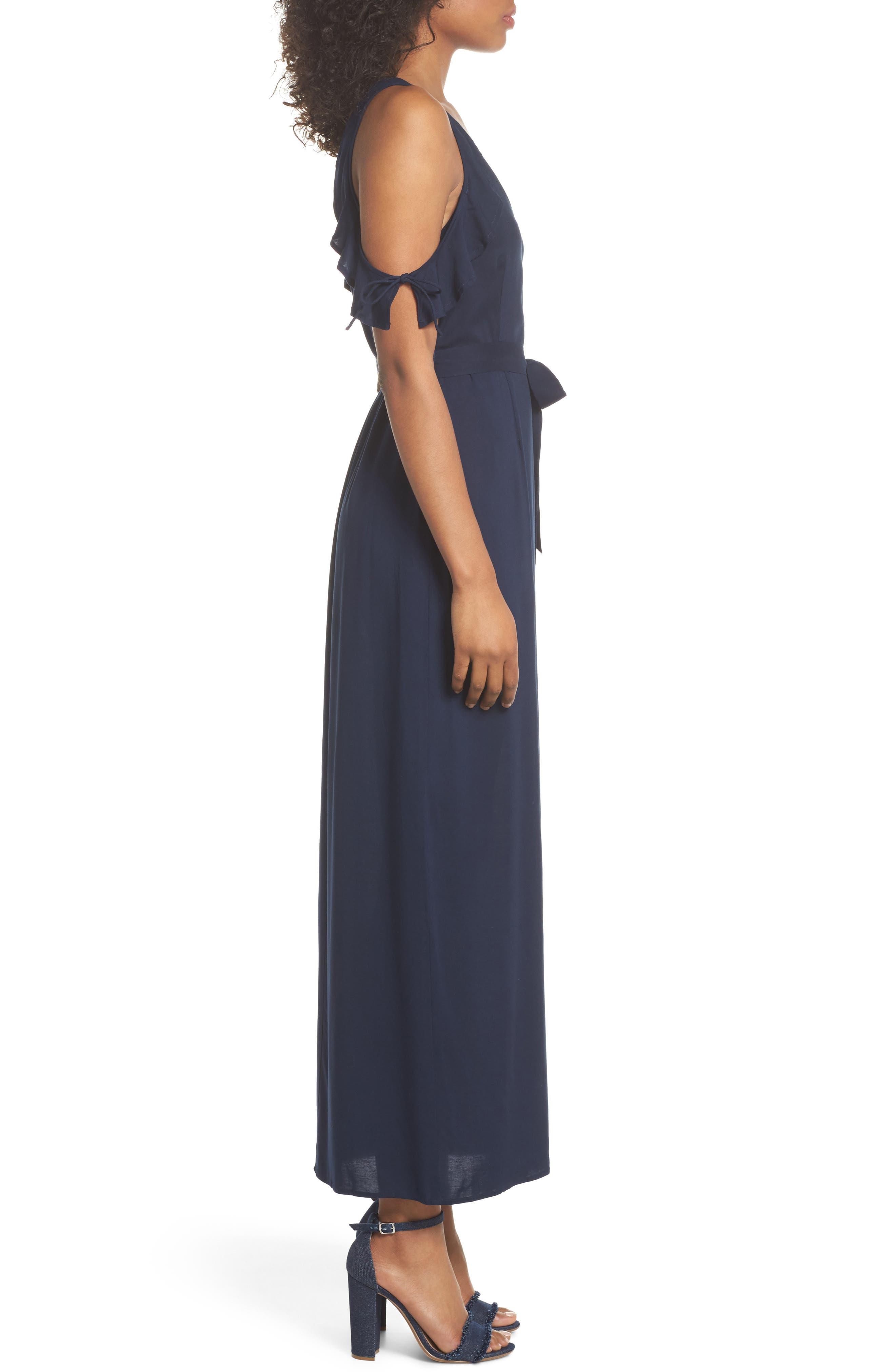 Lystra Cold Shoulder Maxi Dress,                             Alternate thumbnail 3, color,                             Dark Ink Blue