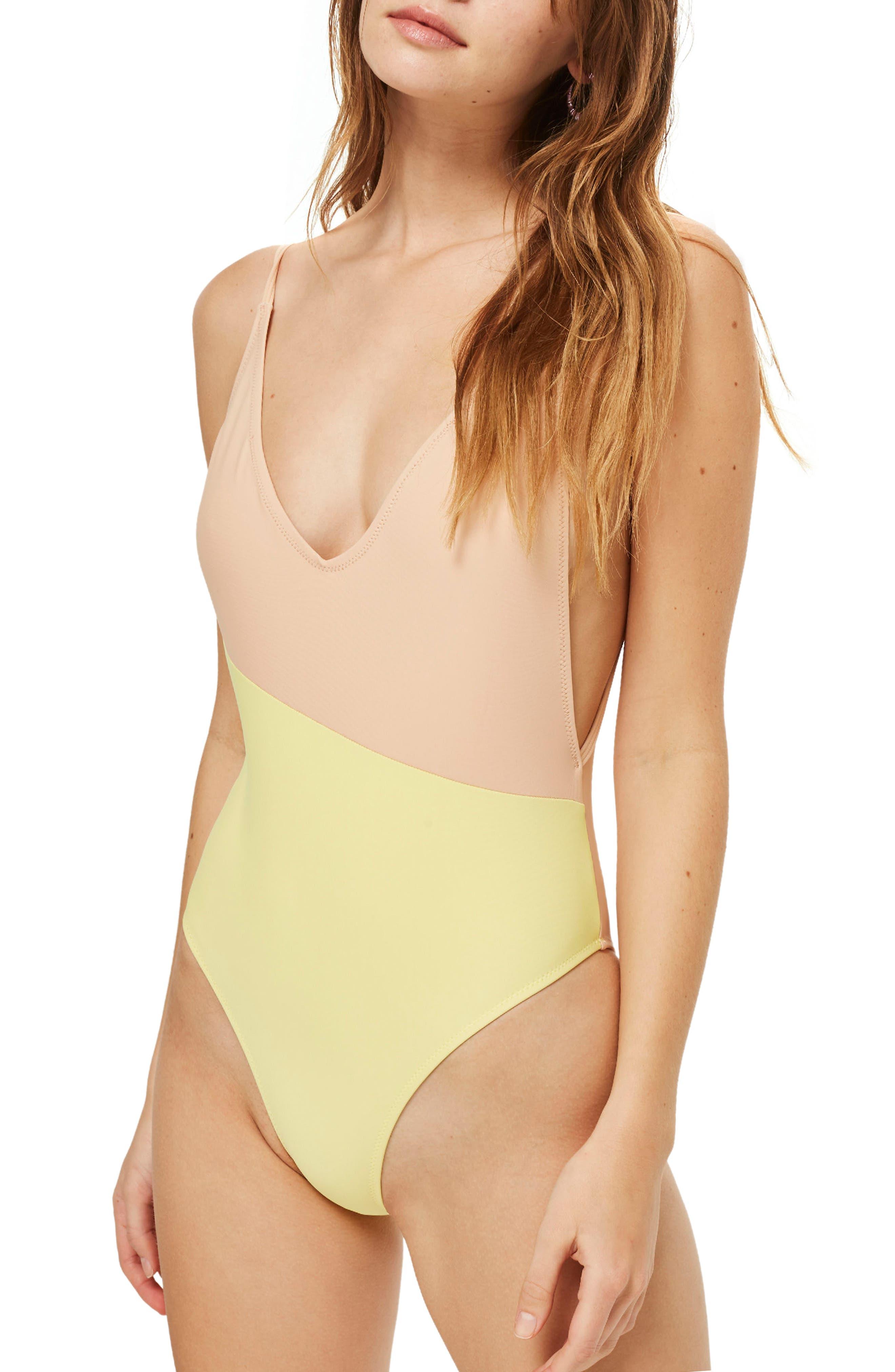 Topshop Colorblock Plunge One-Piece Swimsuit