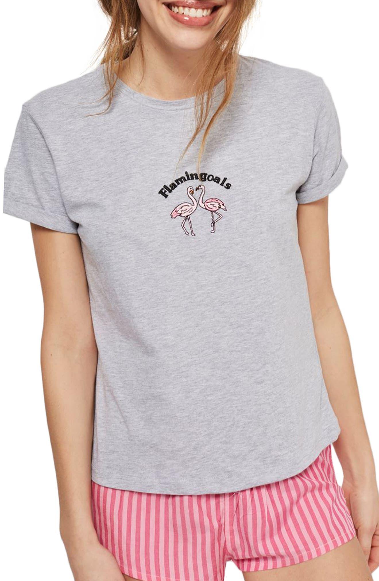Flamingoals Short Pajamas,                             Main thumbnail 1, color,                             Pink Multi