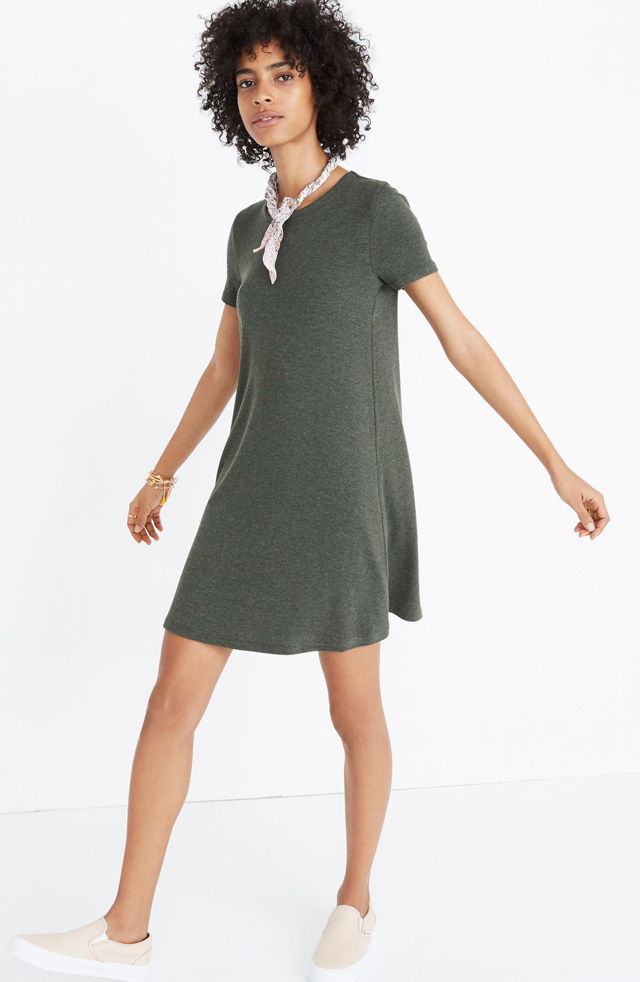 Ribbed Swingy T-Shirt Dress,                             Alternate thumbnail 3, color,                             Heather Underwood
