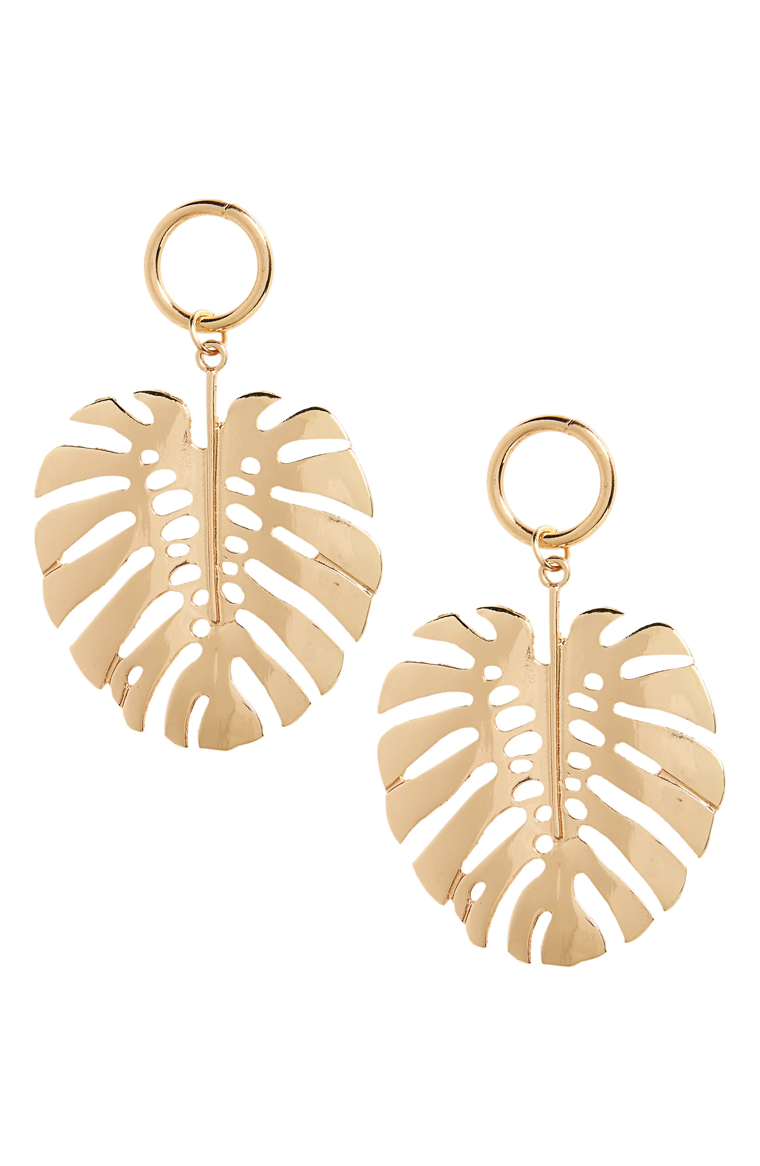 Leaf Drop Earrings,                         Main,                         color, Gold