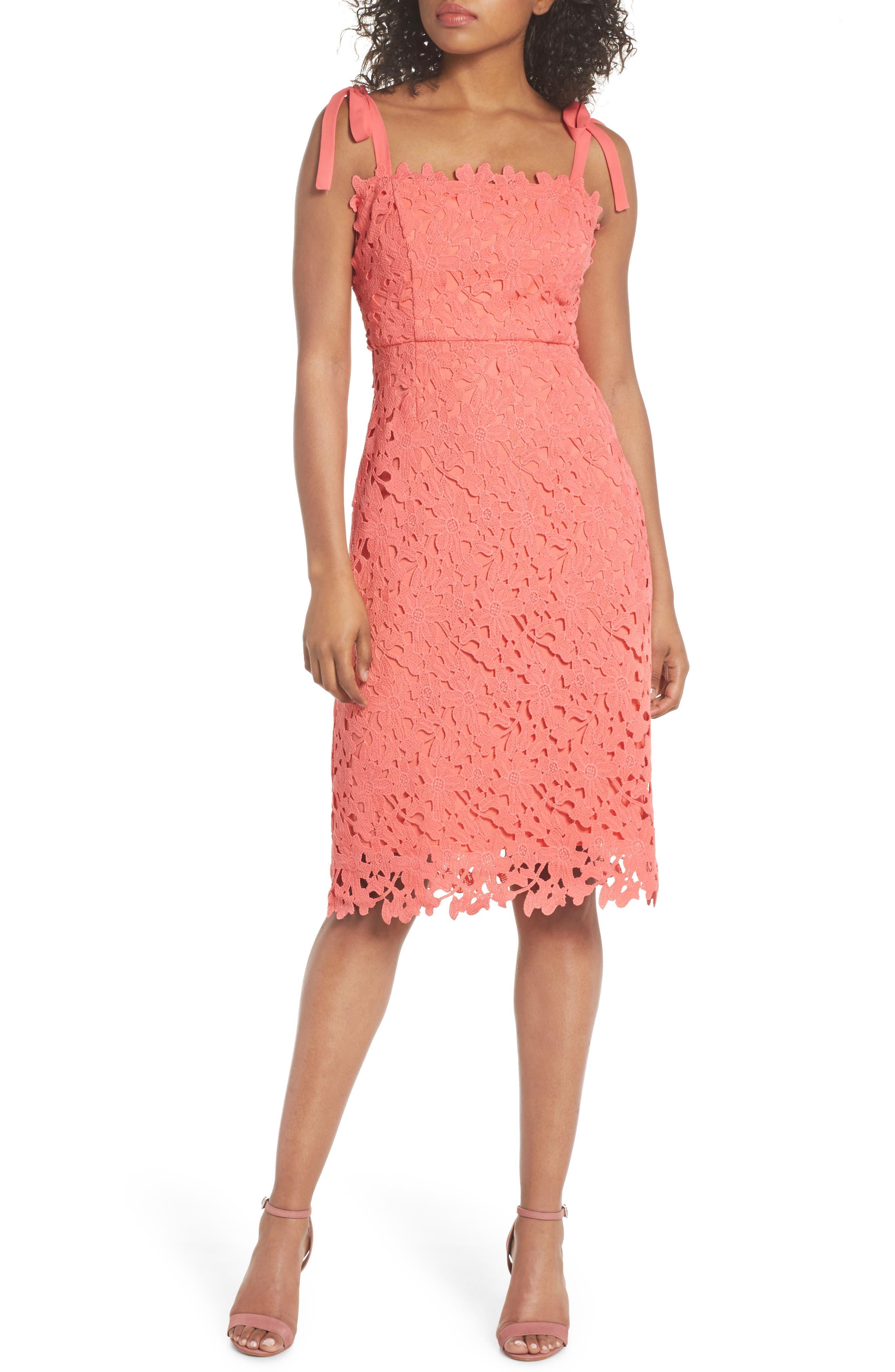 Amy Lace Sheath Dress,                         Main,                         color, Coral