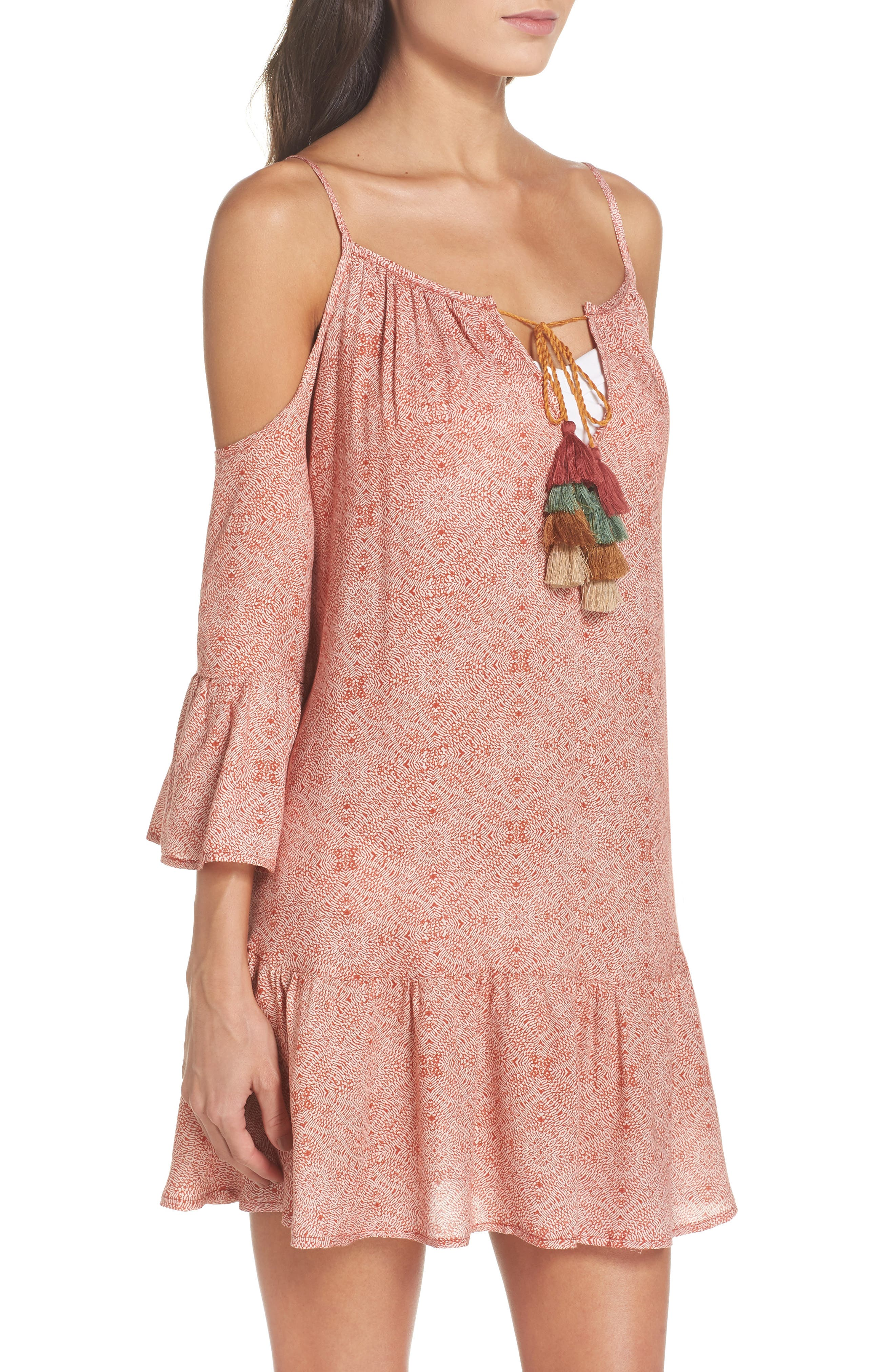 Tassel Cold Shoulder Cover-Up Tunic,                             Alternate thumbnail 3, color,                             Rust