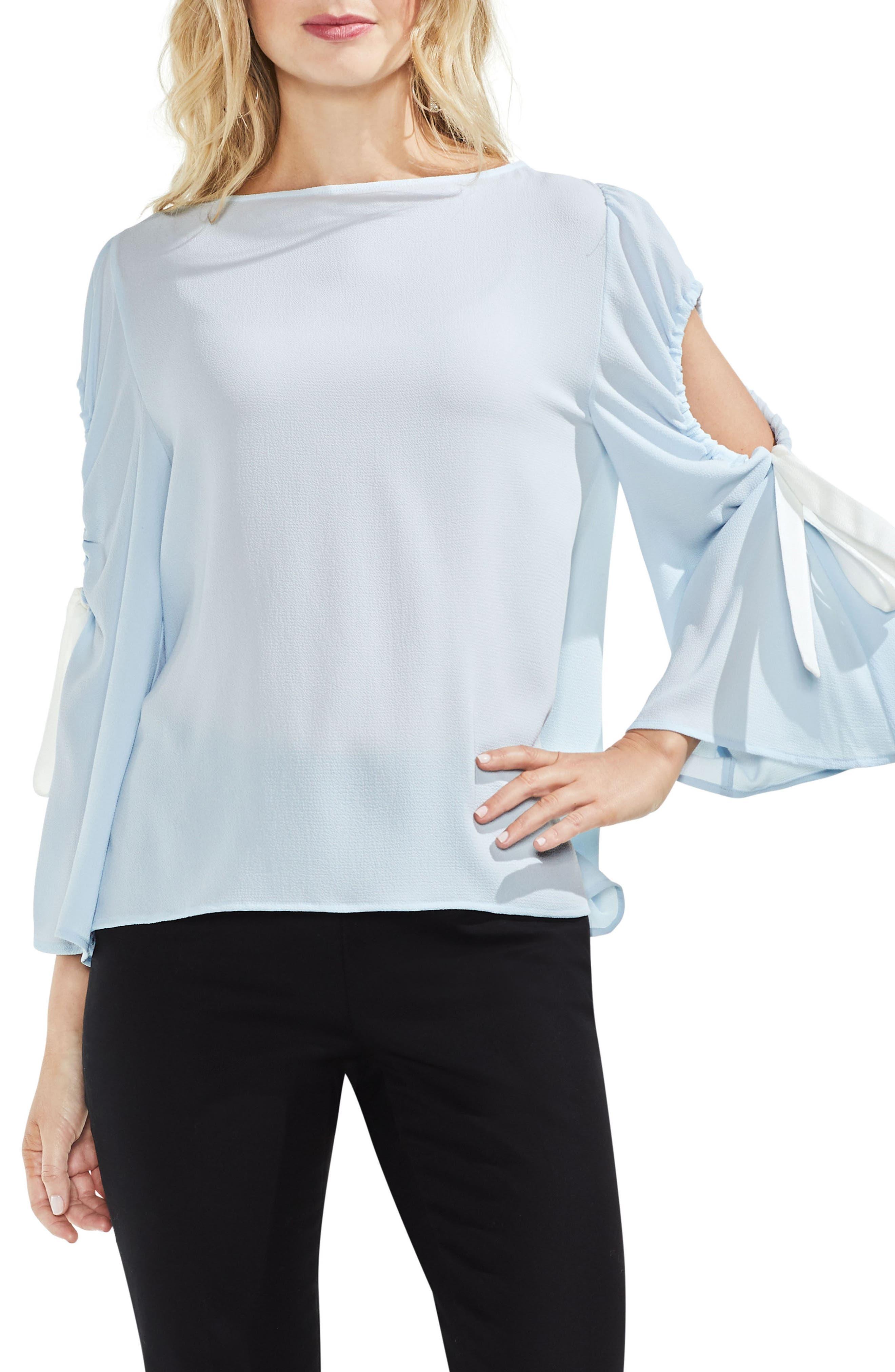 Bell Sleeve Contrast Tie Cold Shoulder Top,                         Main,                         color, Chalk Blue