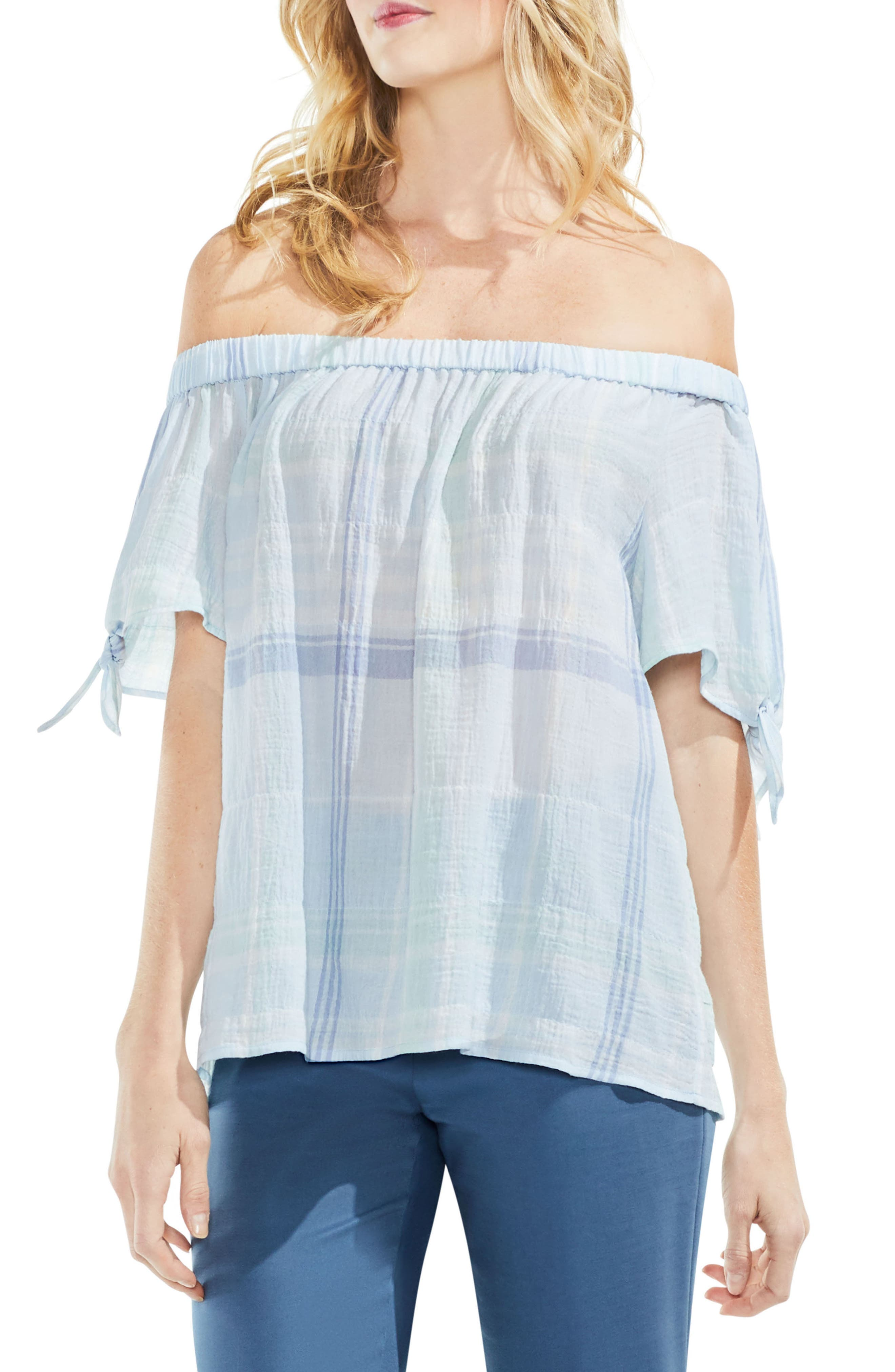 Crinkle Stretch Cotton Off the Shoulder Top,                         Main,                         color, Chalk Blue