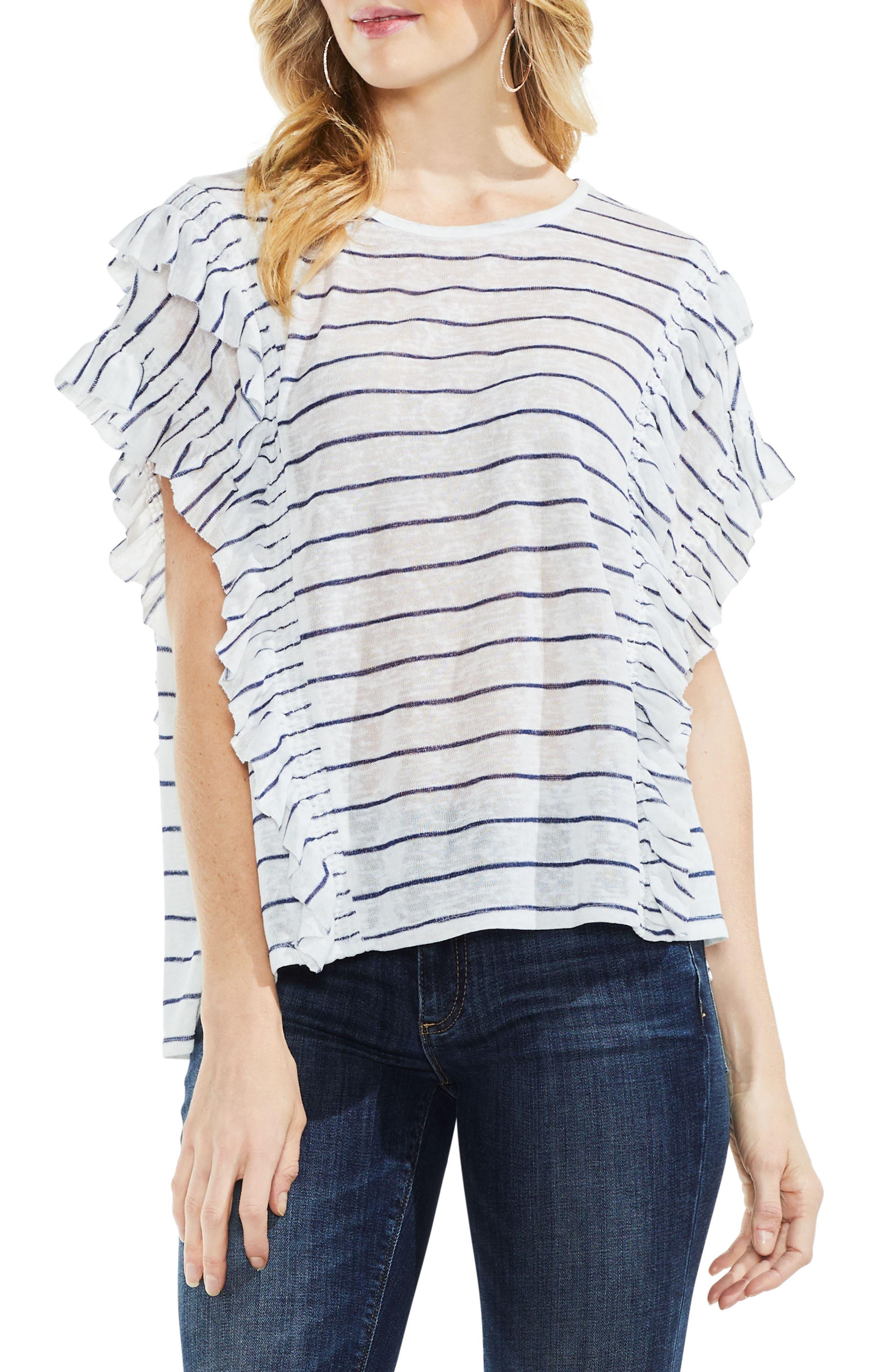 Ruffle Sleeve Stripe Top,                         Main,                         color, Regatta Bay