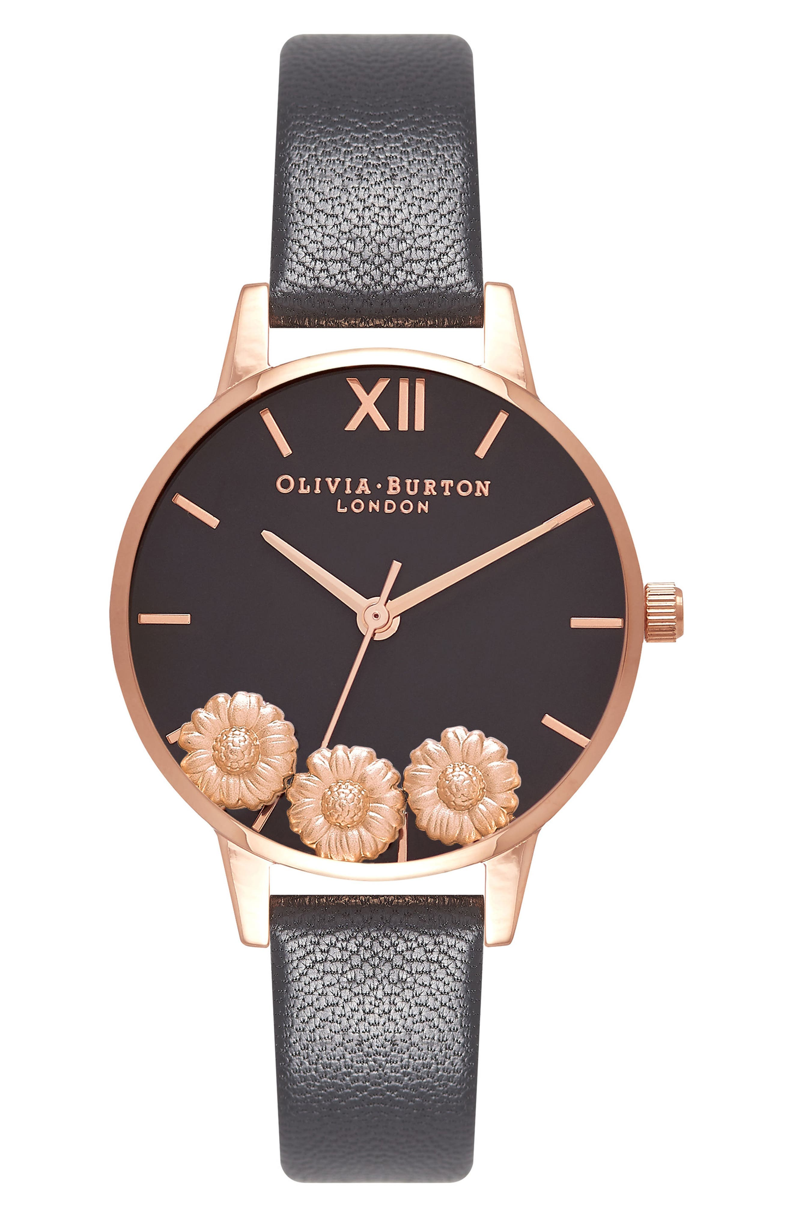 Dancing Daisy Leather Strap Watch, 30mm,                         Main,                         color, Black/ Floral/ Rose Gold