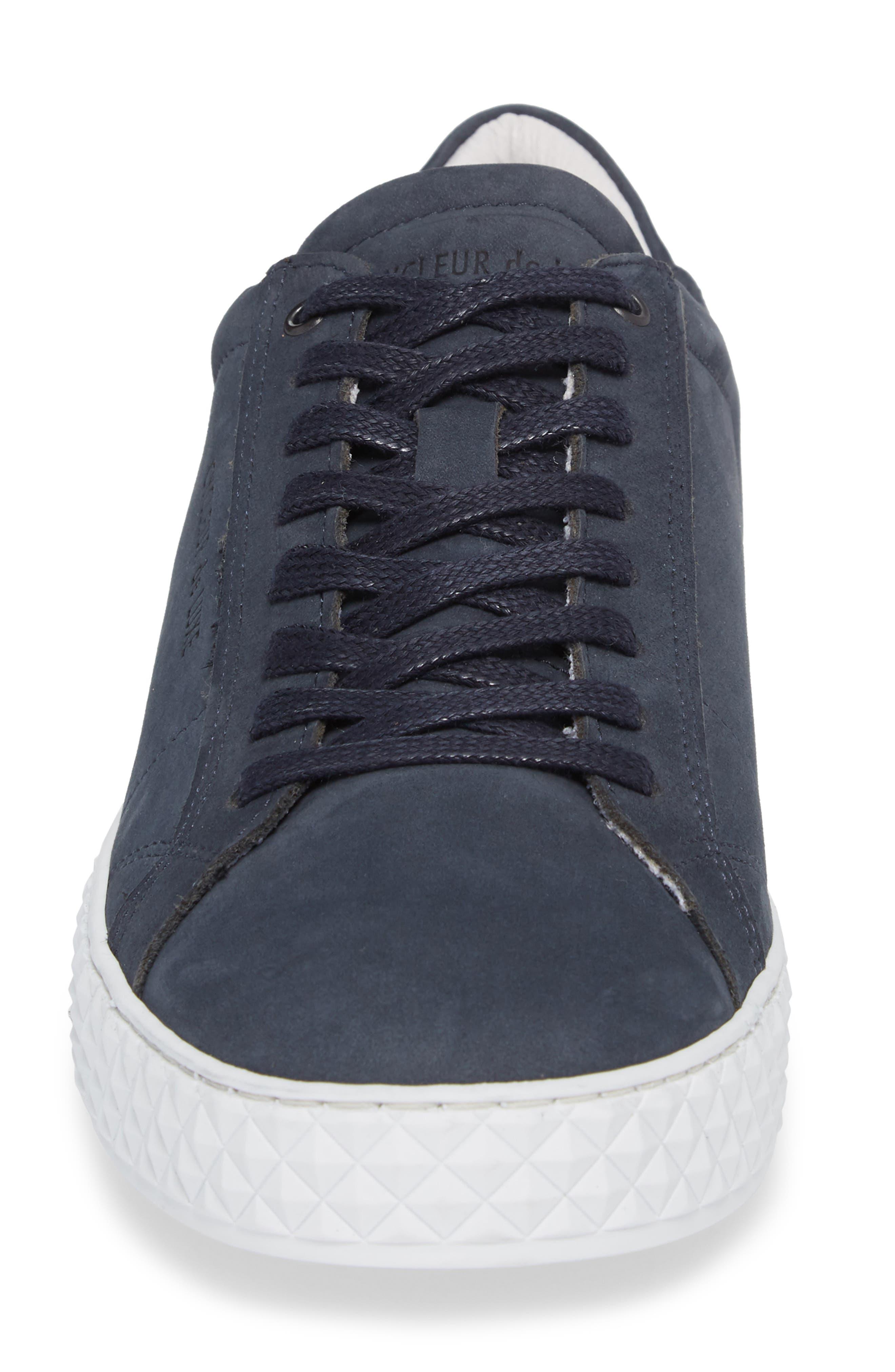 Bratislava Low Top Sneaker,                             Alternate thumbnail 4, color,                             Navy Leather