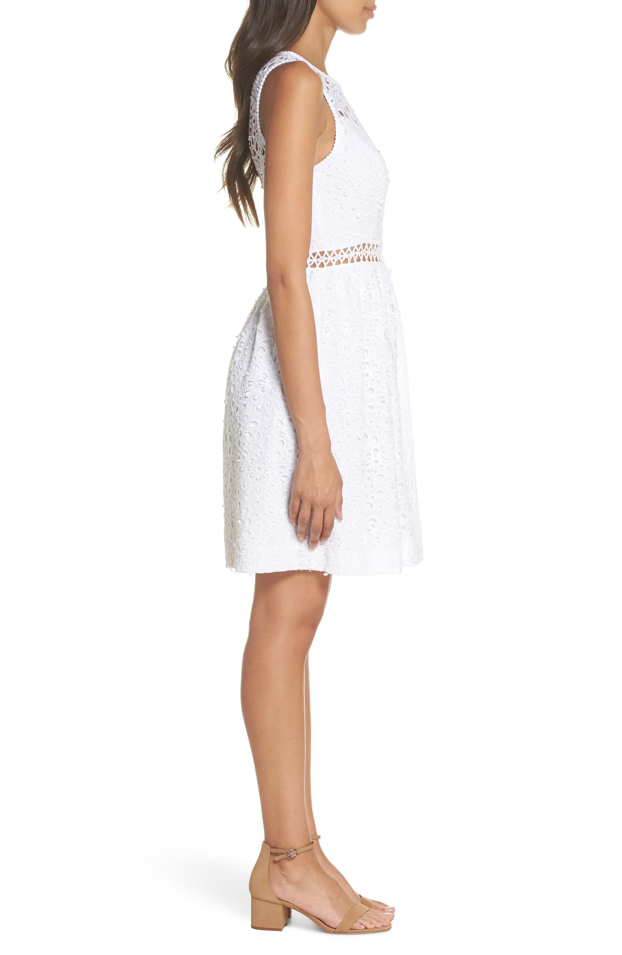 Alivia Eyelet Fit & Flare Dress,                             Alternate thumbnail 3, color,                             Resort White Sea Spray