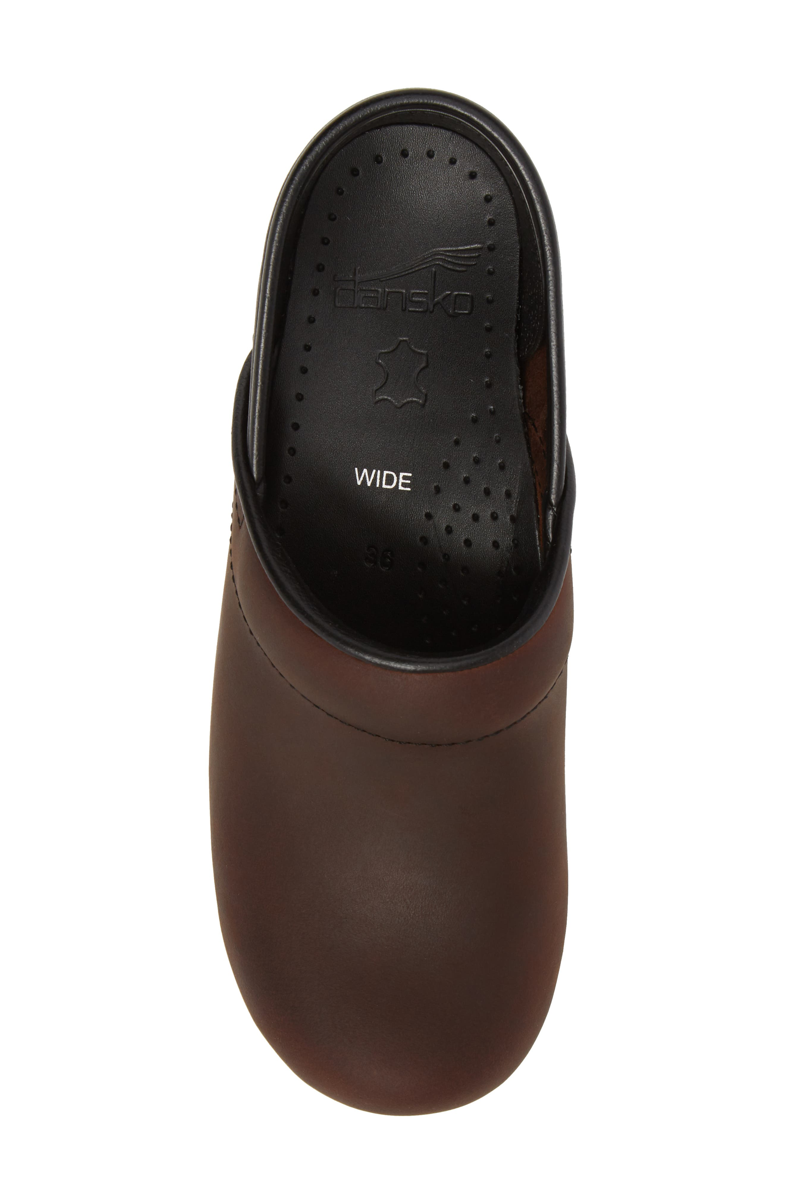 Wide Pro Clog,                             Alternate thumbnail 5, color,                             Antique Brown/ Black Leather