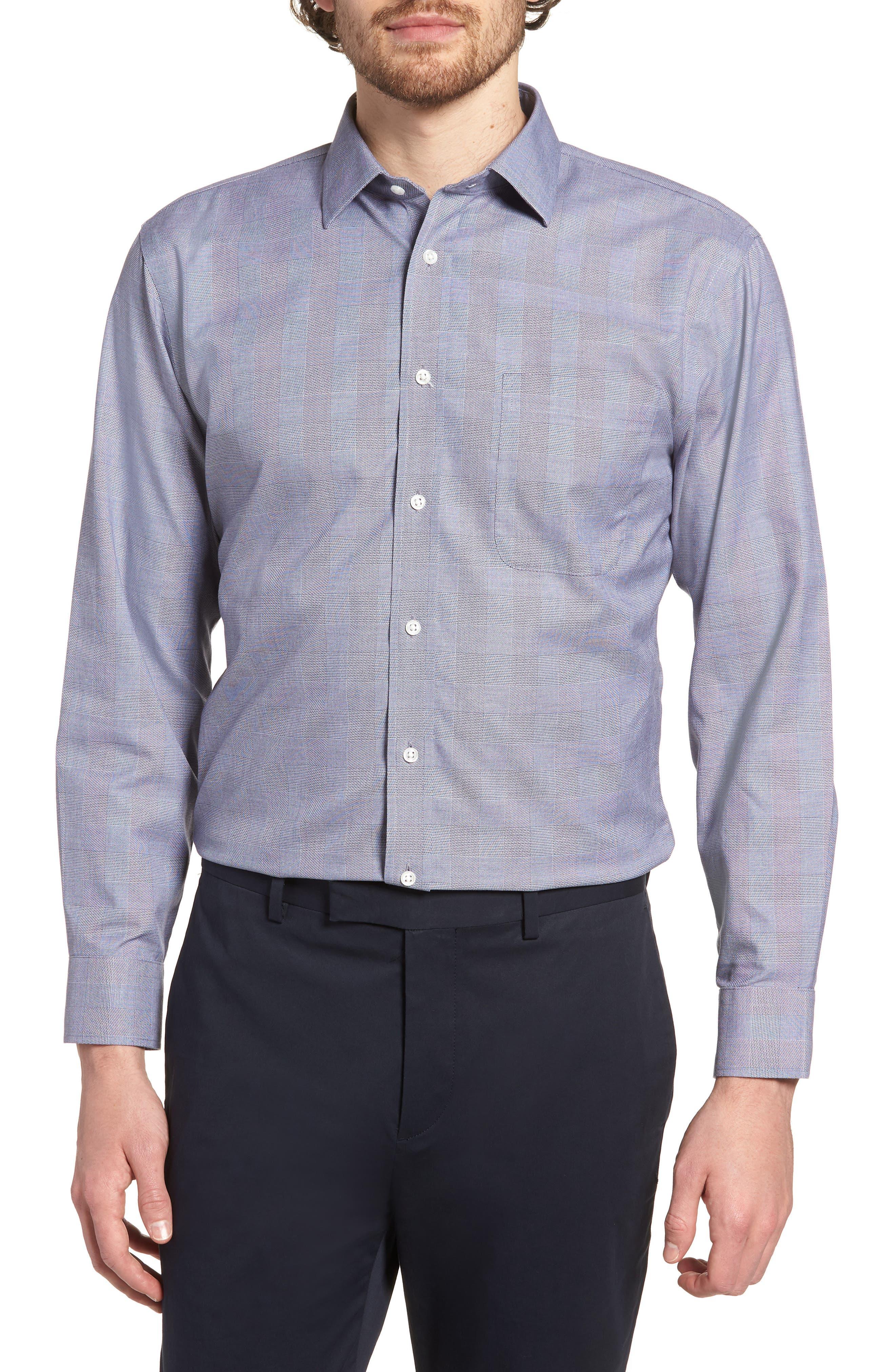 Smartcare<sup>™</sup> Trim Fit Plaid Dress Shirt,                         Main,                         color, Grey Grisaille