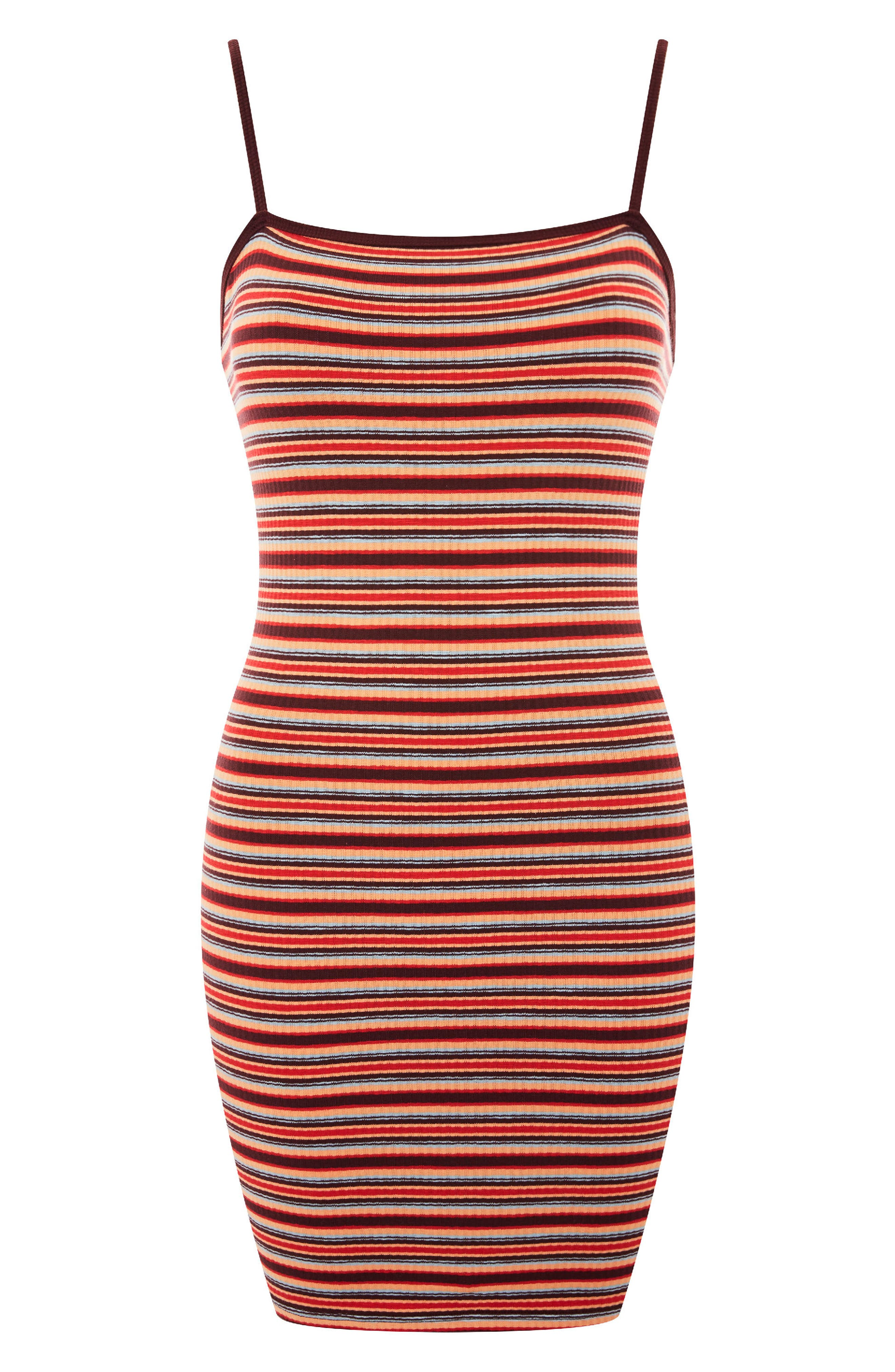 Stripe Body-Con Minidress,                             Alternate thumbnail 4, color,                             Red Multi