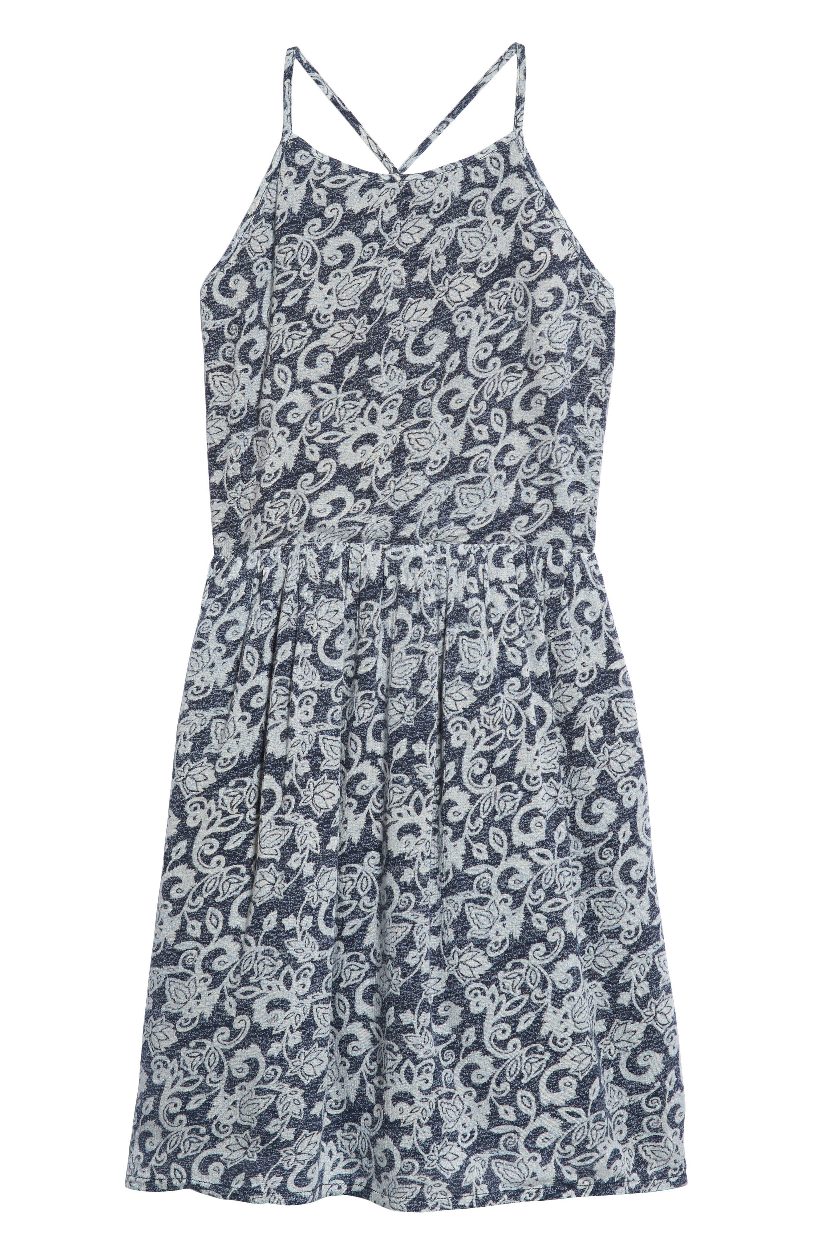 Smocked Dress,                             Main thumbnail 1, color,                             Navy Midnight Woodblock