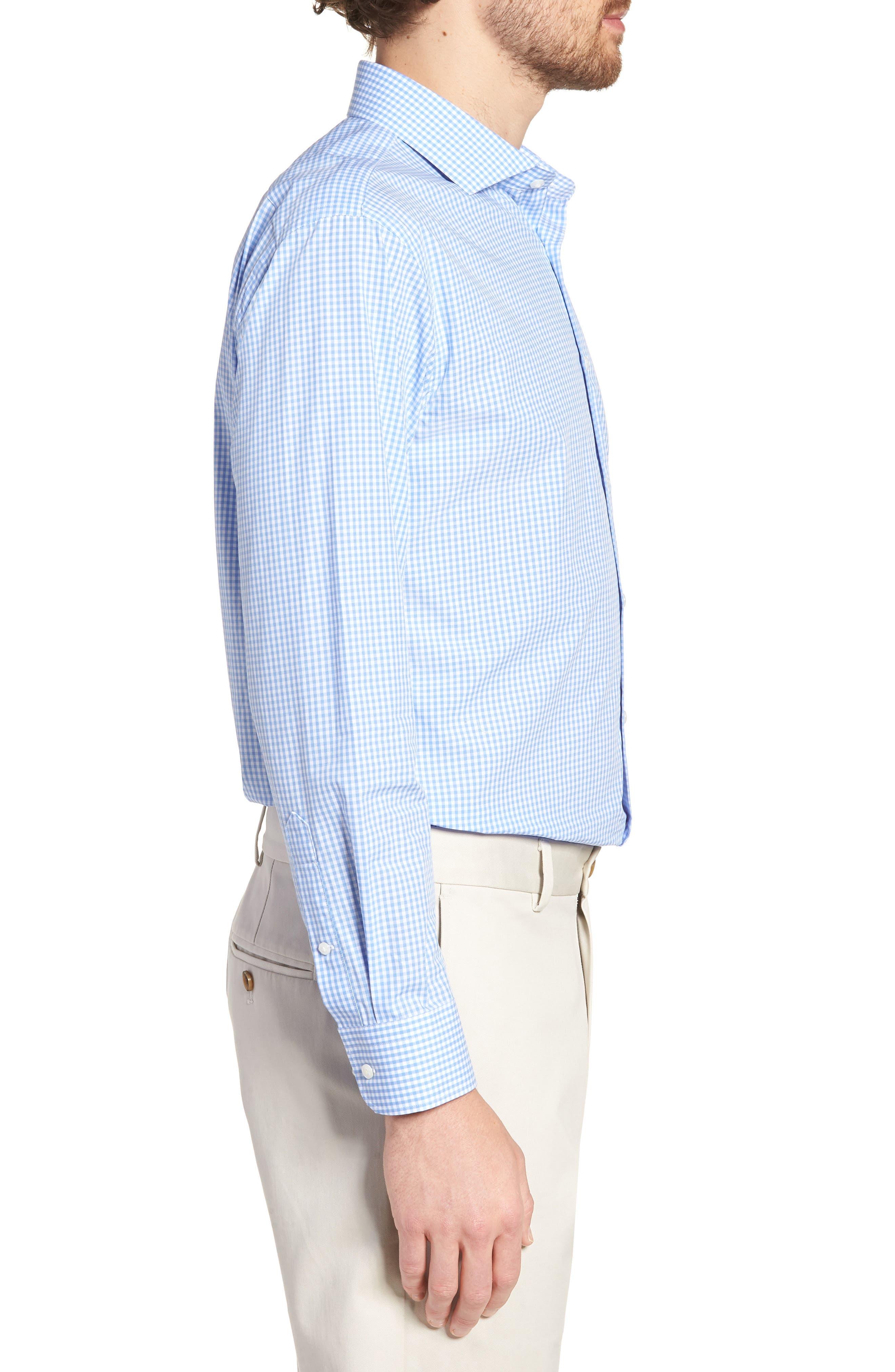 Trim Fit Check Dress Shirt,                             Alternate thumbnail 4, color,                             Blue Cornflower