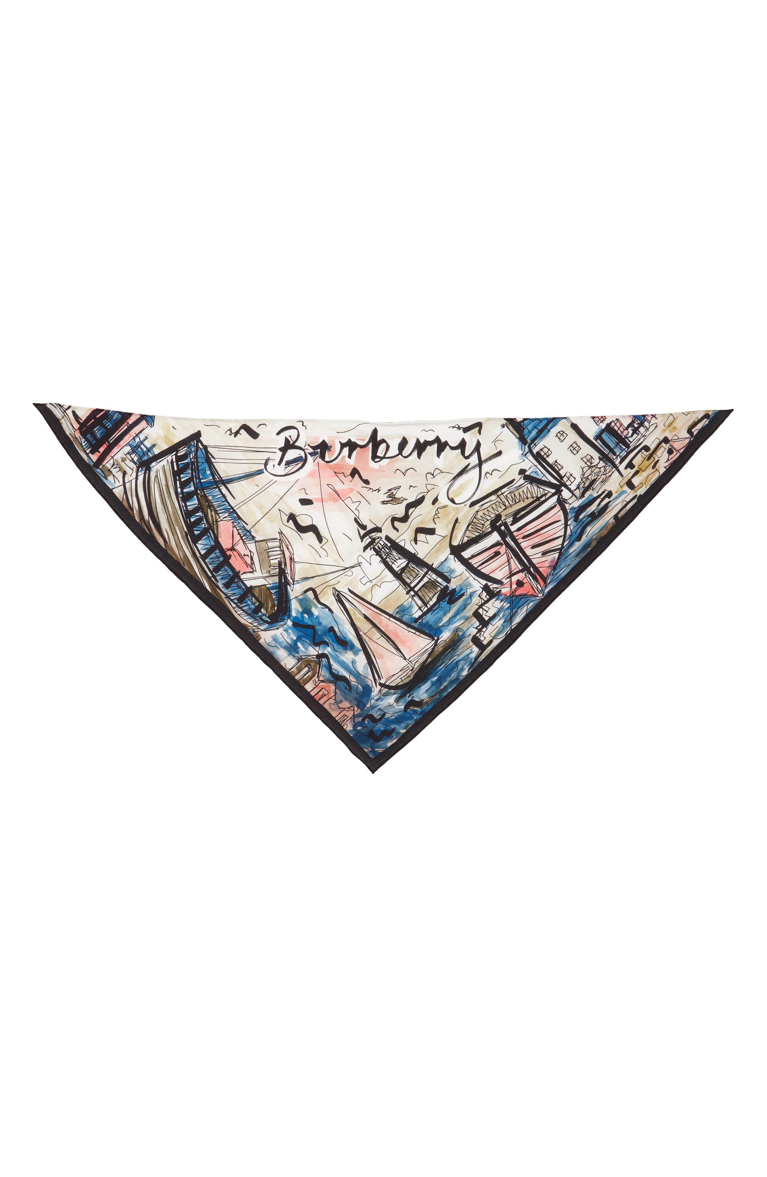 Burberry Watercolor Coastal Print Silk Scarf