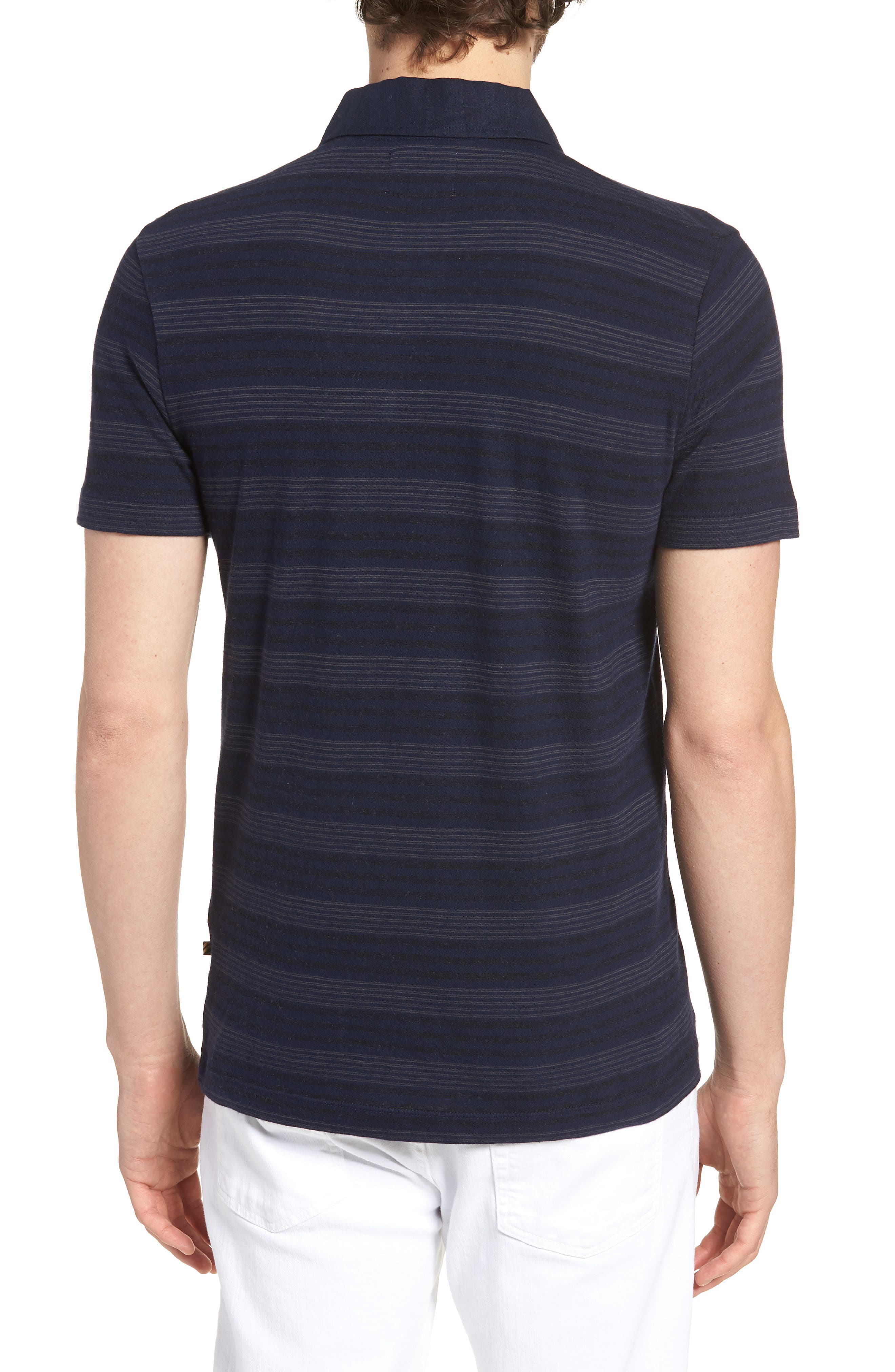 Stripe Cotton & Cashmere Polo Shirt,                             Alternate thumbnail 2, color,                             Navy