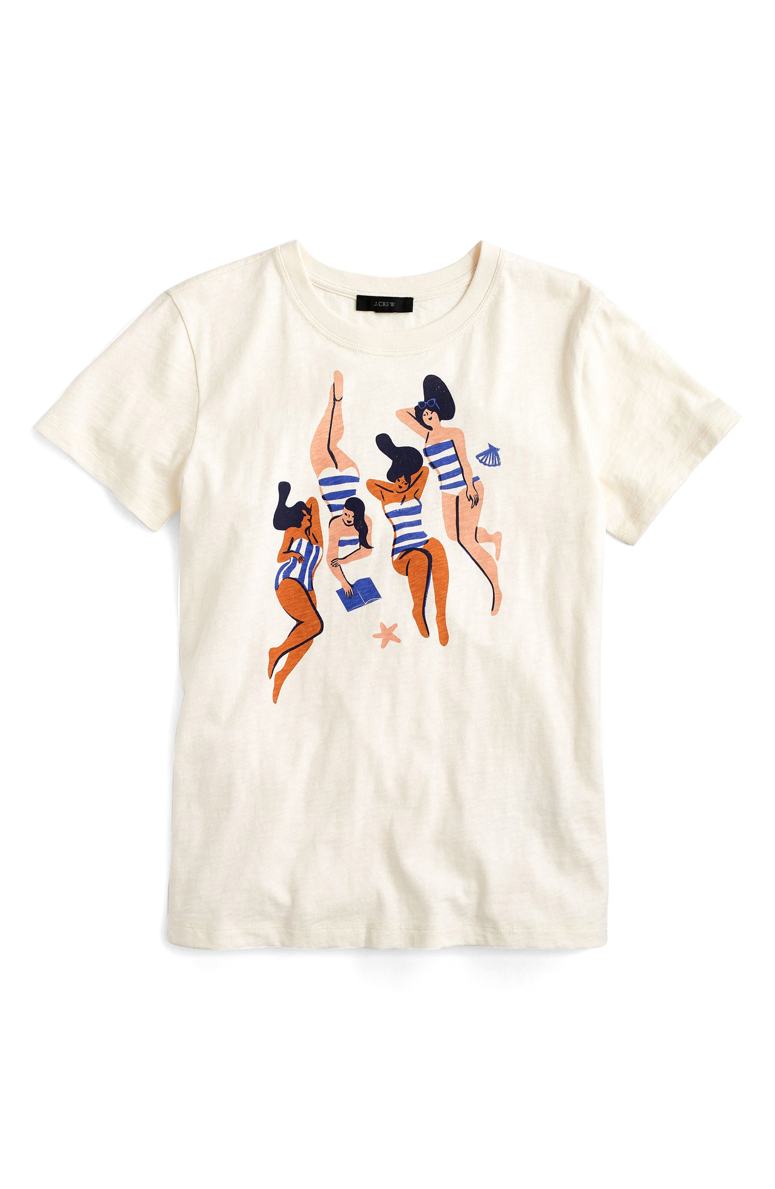 Virginie Morgand x J.Crew Sunbathers Graphic Tee,                         Main,                         color, Washed Sand